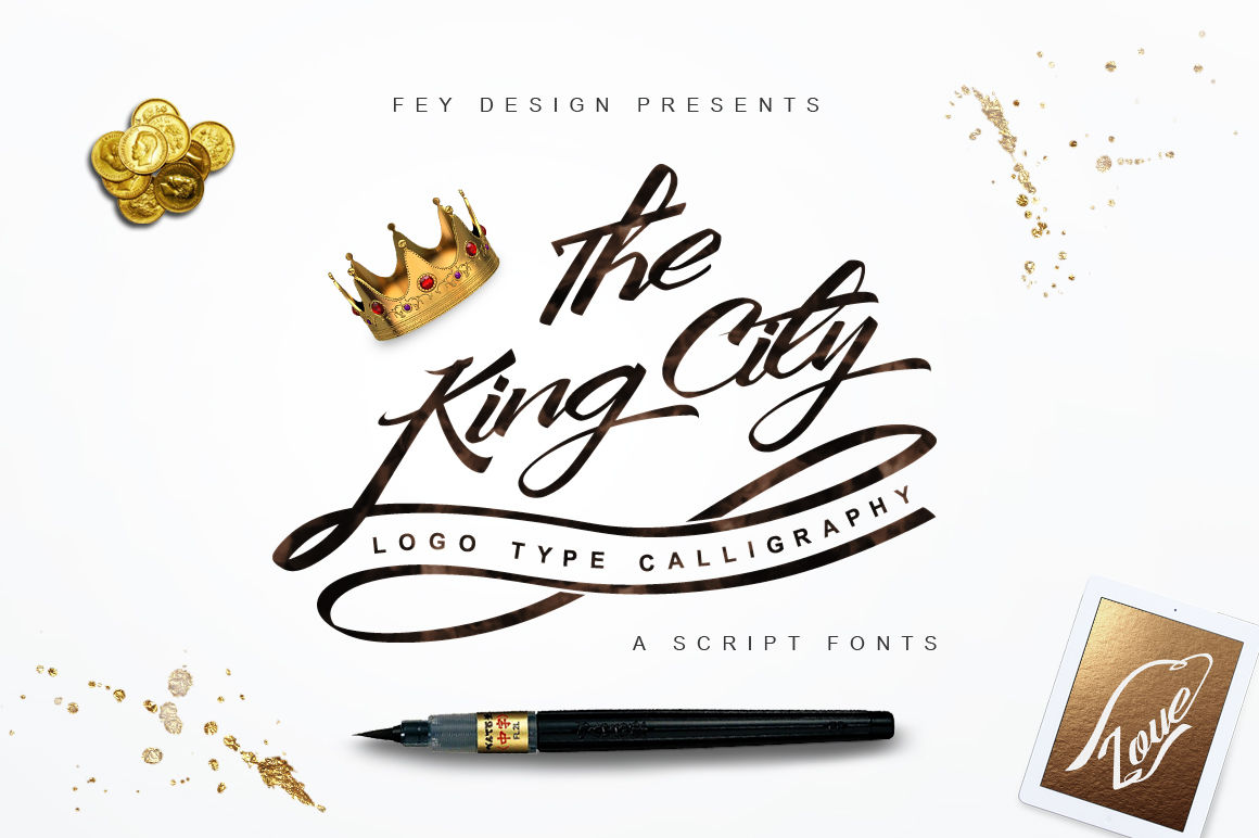 King City Logo Type Modern Callygraphy By Feydesign