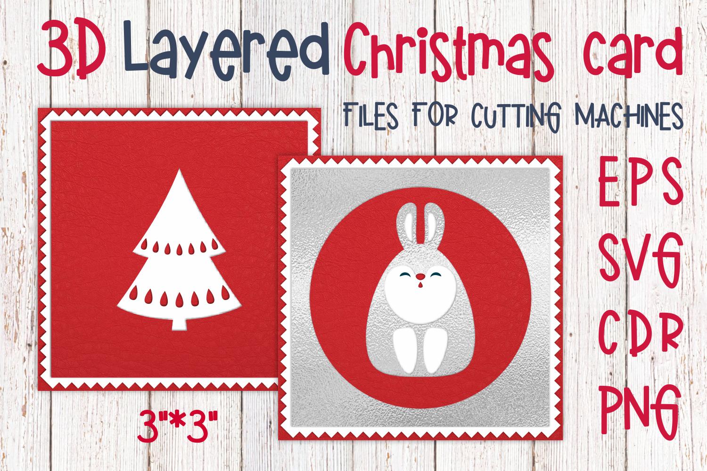 3d Layered Christmas Card With Bunny By Olga Belova Thehungryjpeg Com