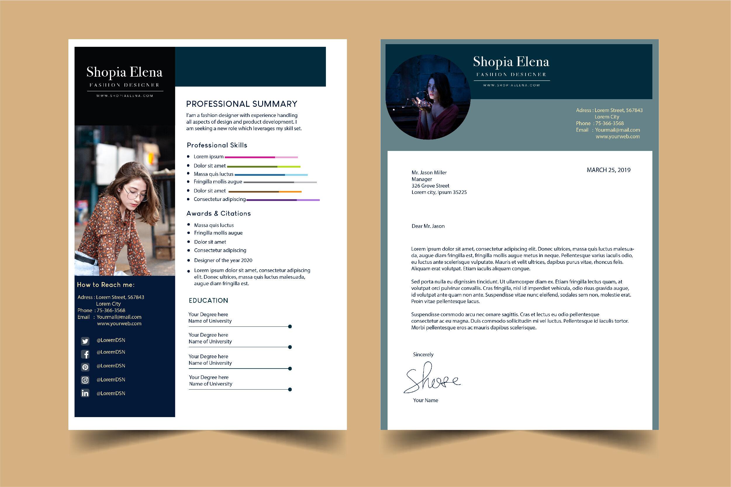 Resume Template Fashion Designer By Otpirusthree Thehungryjpeg Com
