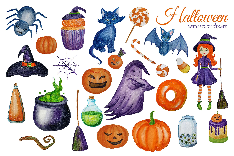 Watercolor Cute Halloween Clipart Witch Clip Art Children Halloween By Svitlana Yanyeva Thehungryjpeg Com