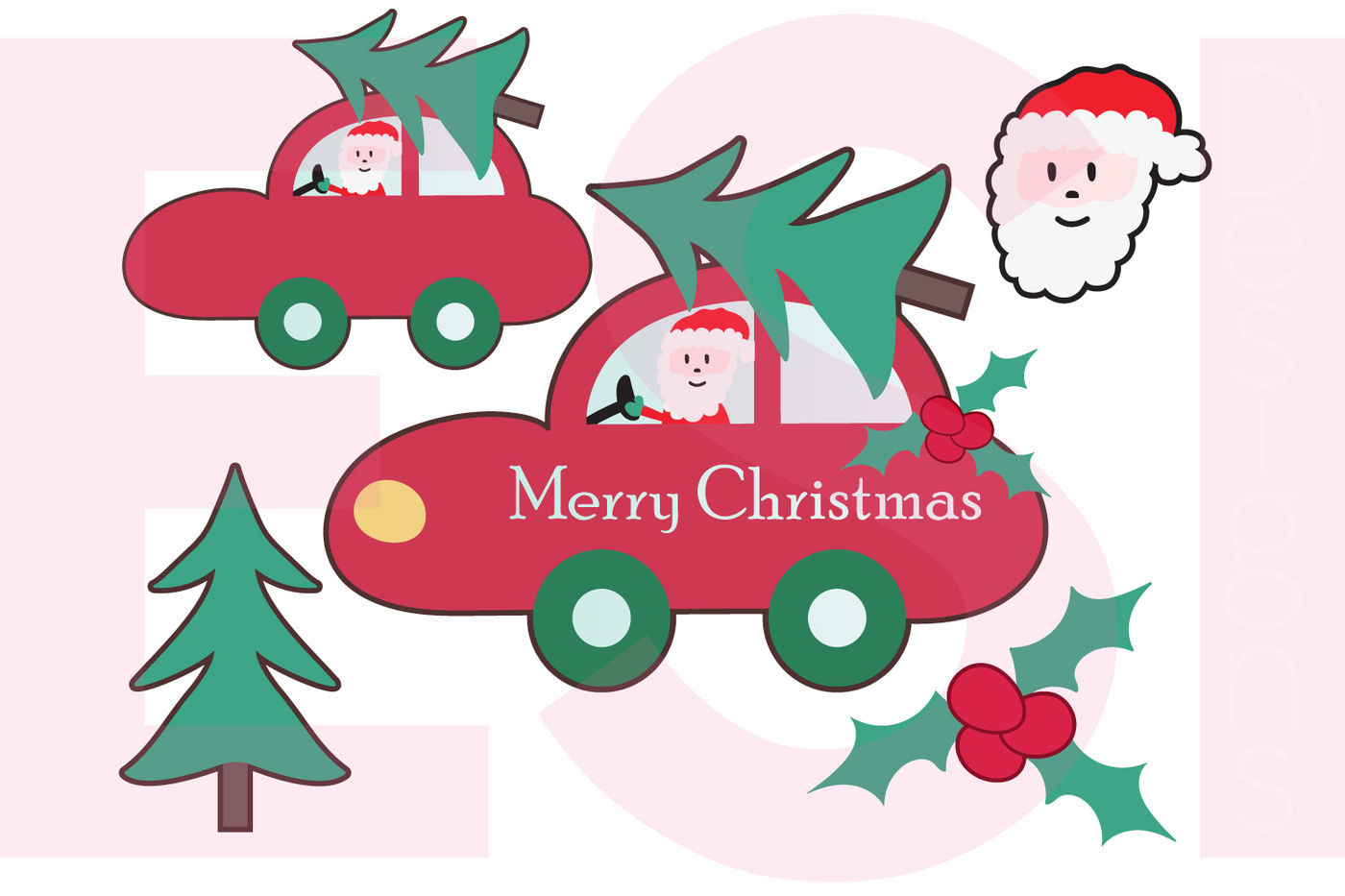 Christmas Car With Tree Plus Extra S Svg Dxf Eps Png