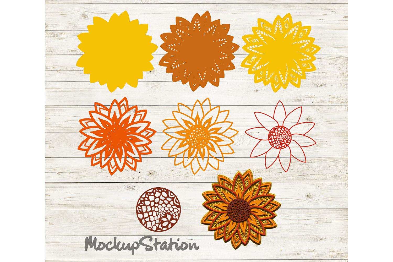 Download Sunflower 3D Mandala SVG, Flower Layered Design PNG DXF ...