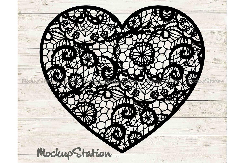 Floral Lace Decor DXF PNG Vector Download Cut File for Laser Cricut Cameo Heart Mandala SVG