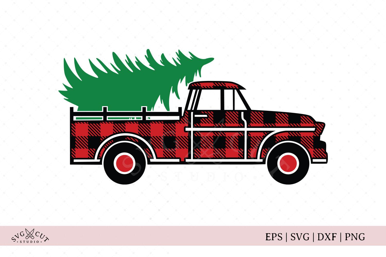 Plaid Vintage Christmas Truck Svg Files By Svg Cut Studio Thehungryjpeg Com