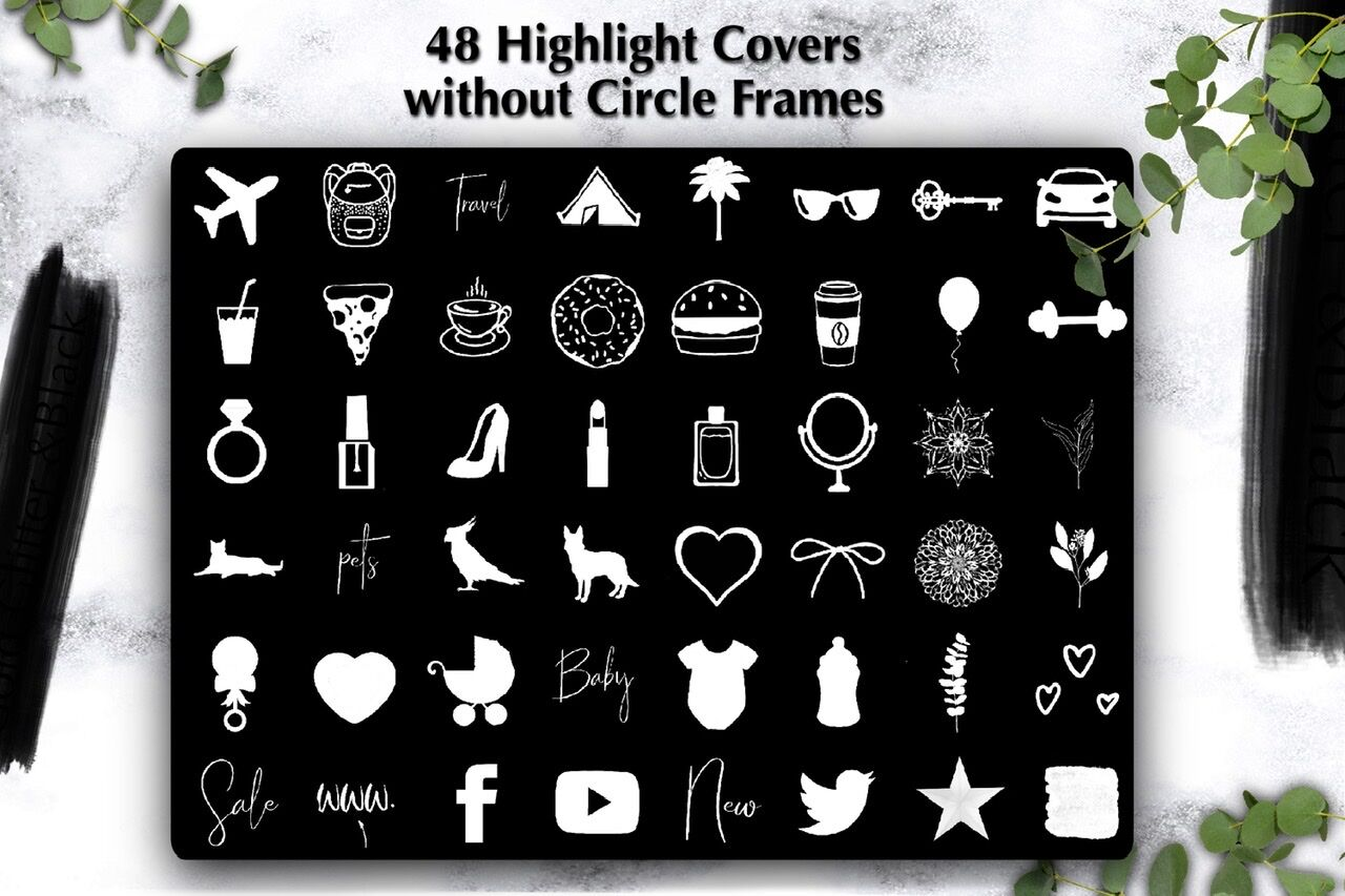 48 White Instagram Highlight Covers Instagram Story Icons By Dishanti Art Thehungryjpeg Com