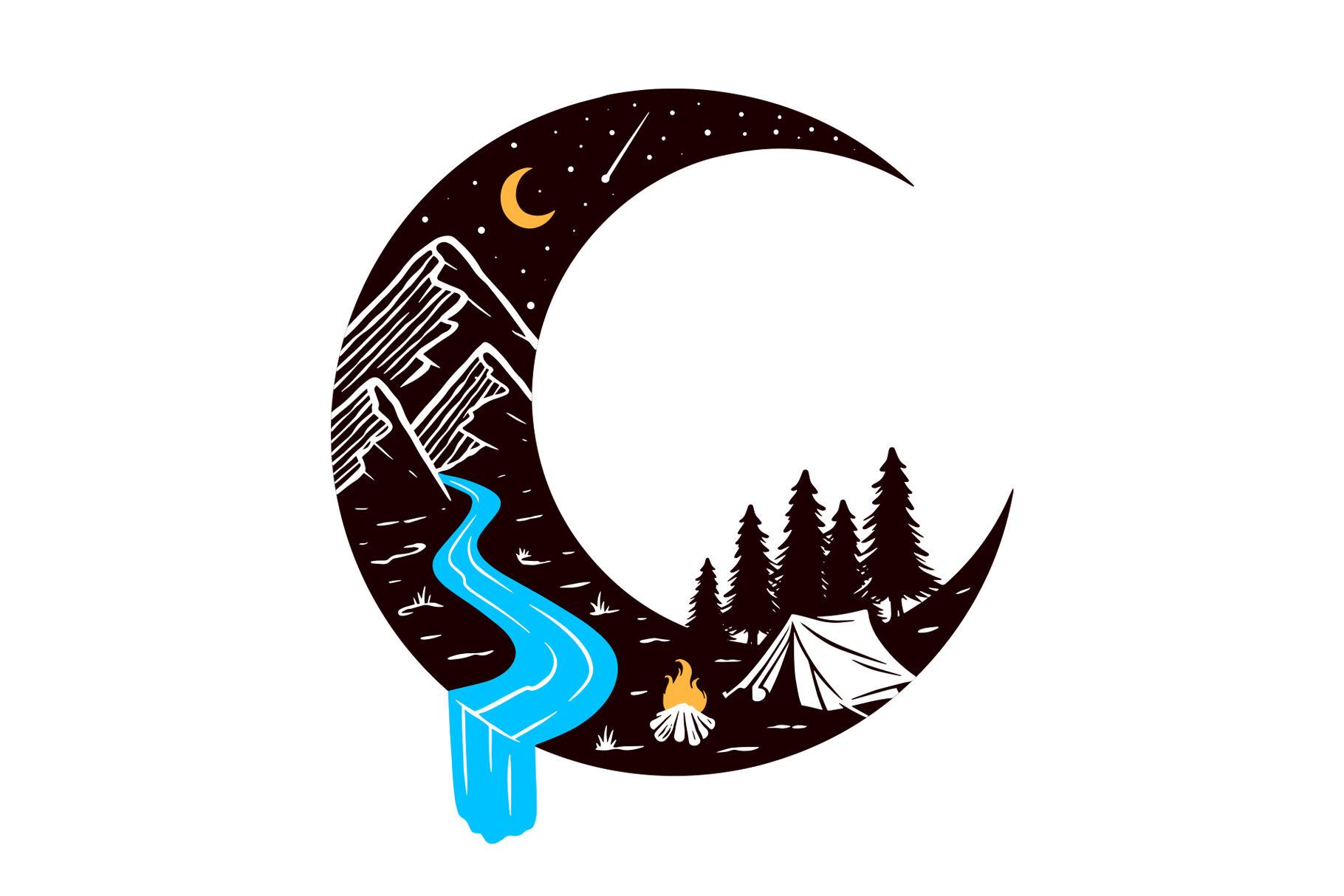 Camping at night vector illustration By gunaonedesign ...