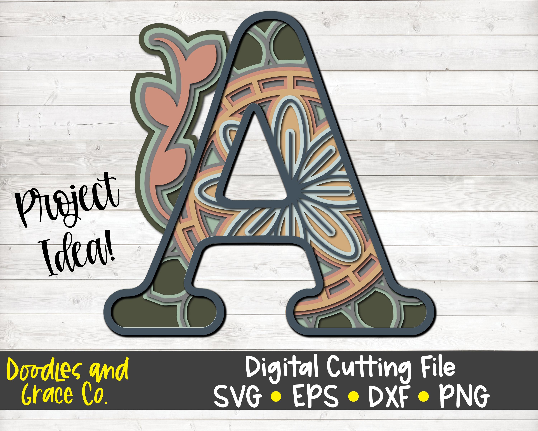 Download Alphabet 3D Layered Mandala Bundle SVG By Doodles and ...
