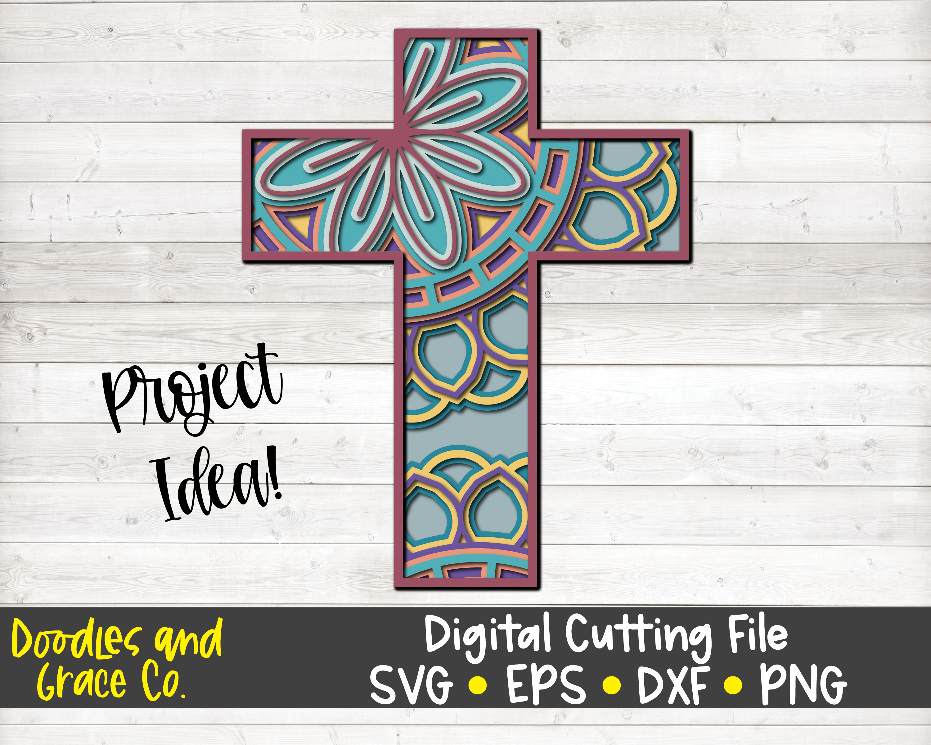 Download Cross 3D Layered Mandala SVG By Doodles and Grace ...