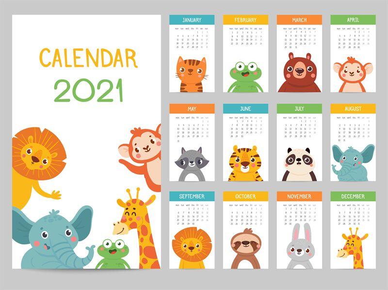 Animals calendar 2021. Cute monthly calendar with ...