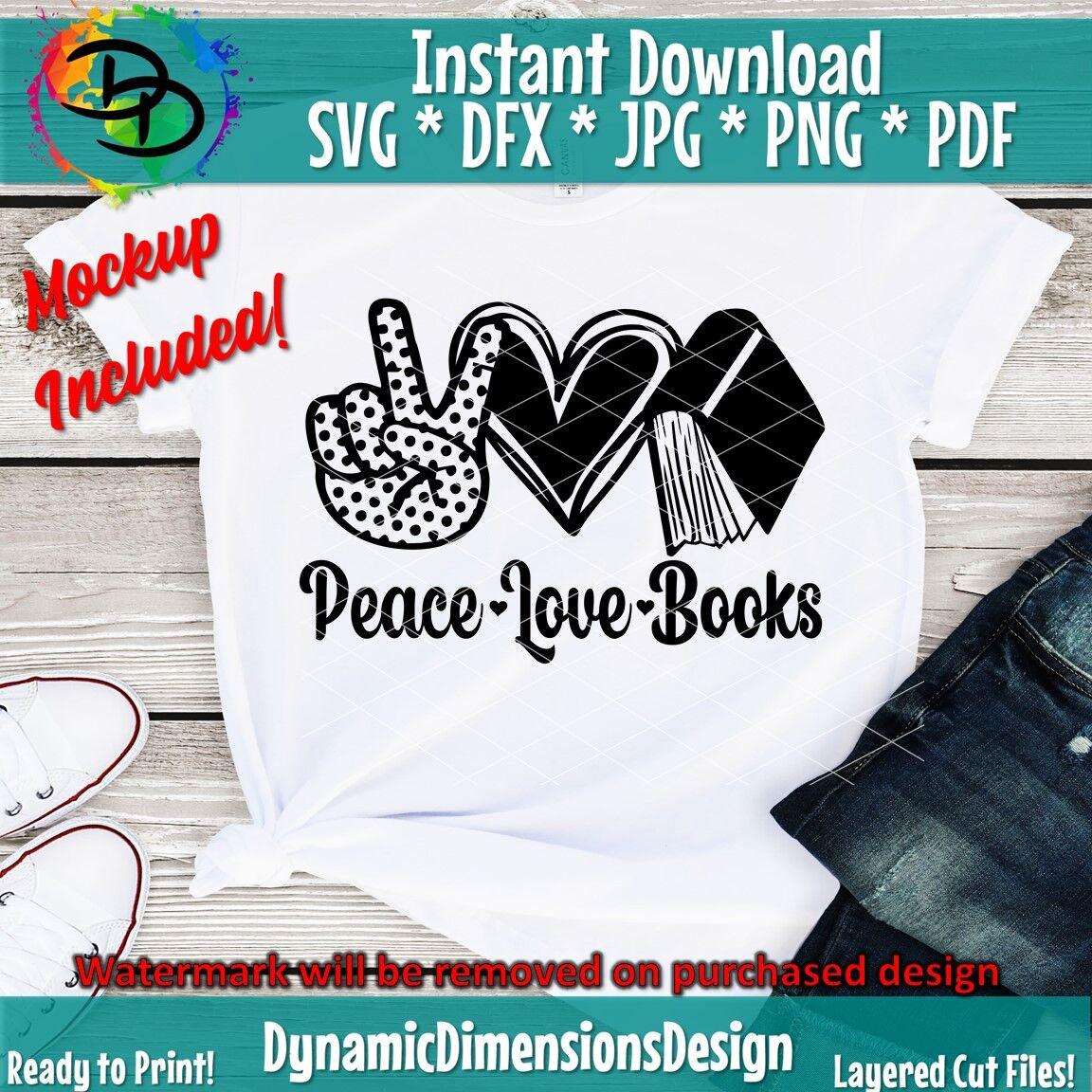 Download Peace Love Books svg file, reading svg, book lover svg ...