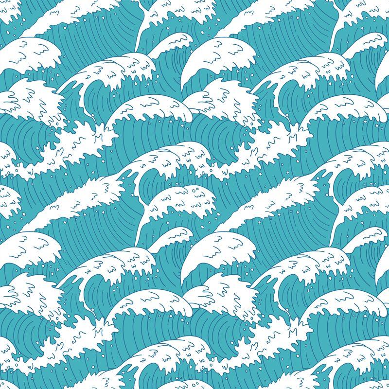 Sea waves seamless pattern. Ocean water wave lines, raging ...  Ocean Water Pattern
