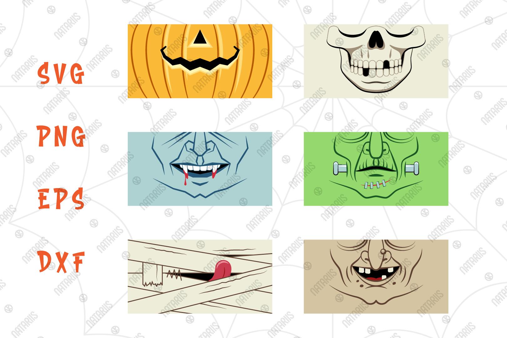 Svg Bundle 6 Funny Halloween Designs For Face Mask By Natariis Studio Thehungryjpeg Com