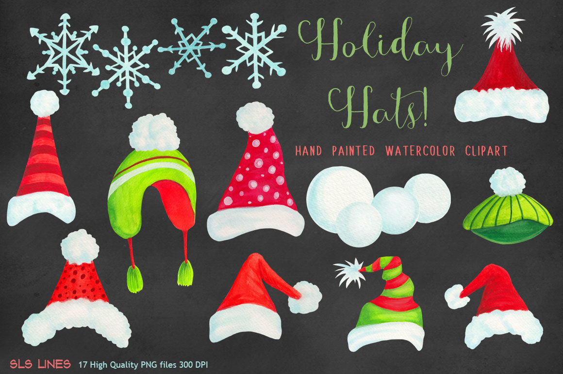 Christmas Holiday Hats Clipart By Sls Lines Thehungryjpeg Com