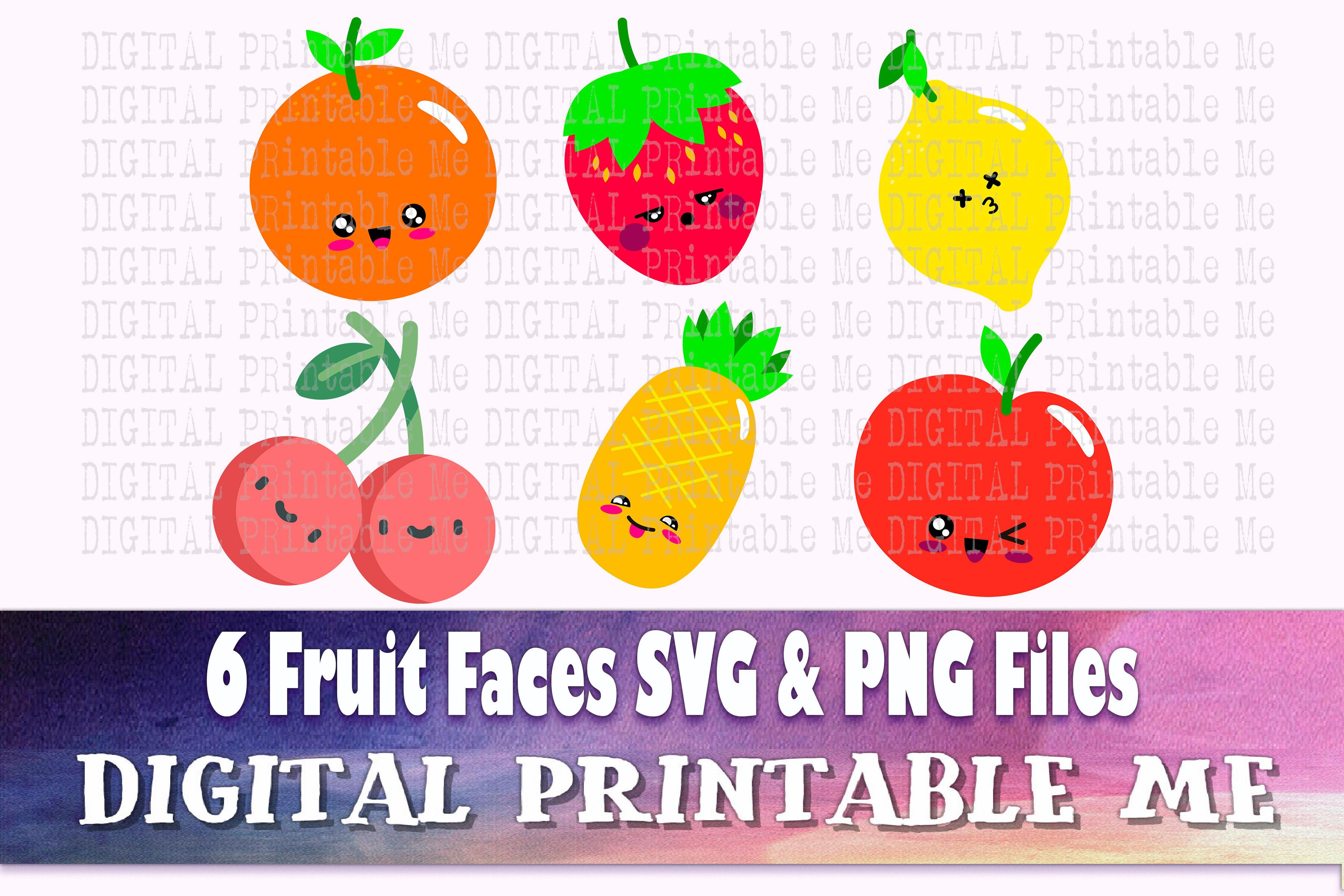 Smiling Fruit Svg Bundle Clip Art Png 6 Image Pack Digital Cut Fi By Digitalprintableme Thehungryjpeg Com