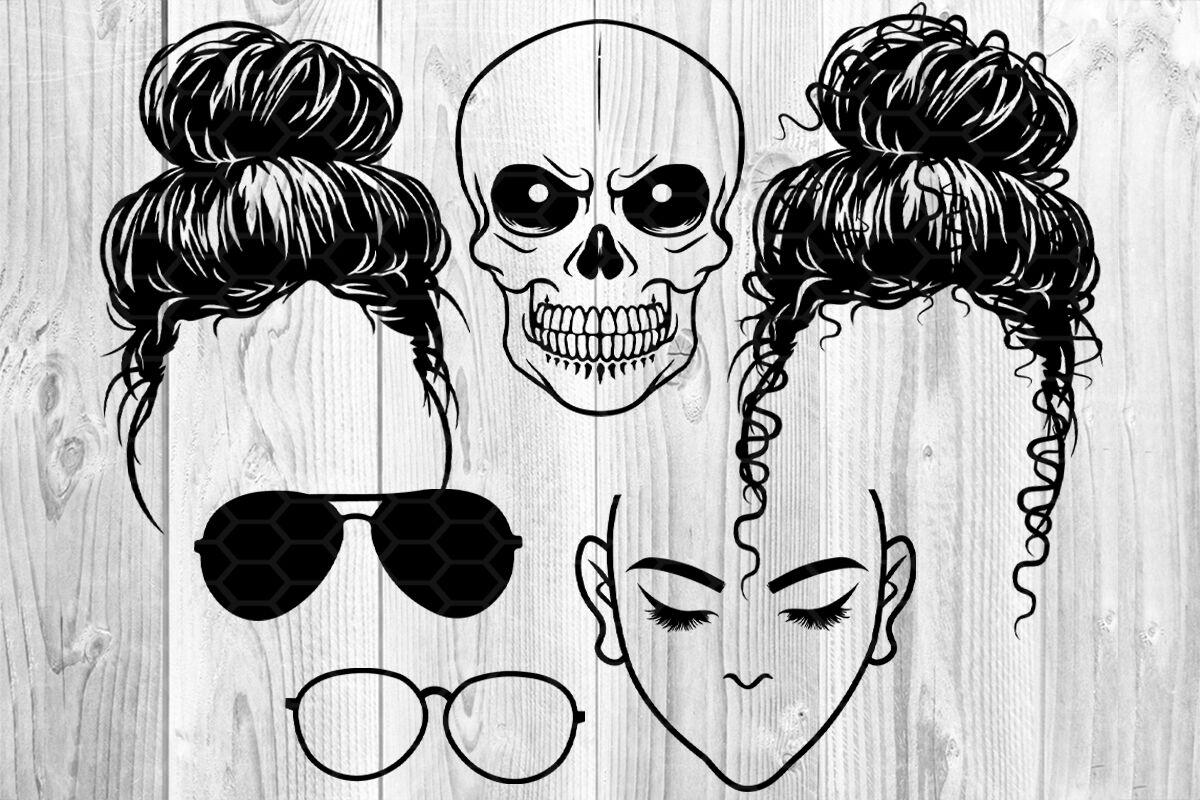 Messy Bun Bandana Mom Life SVG Clip Art By Mandala Creator ...