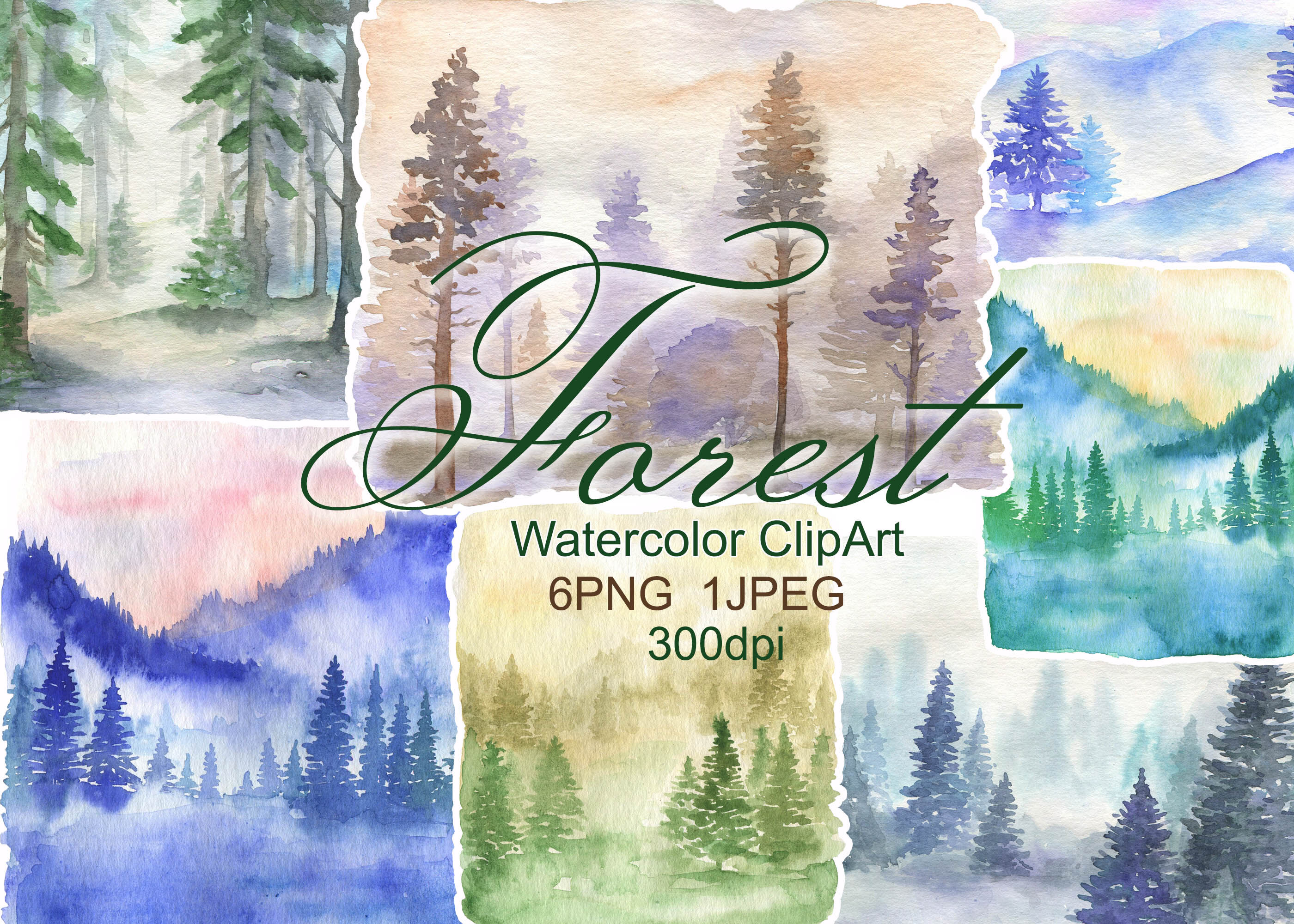 watercolor forest clipart landscape clip art background nature png by vilenaart thehungryjpeg com watercolor forest clipart landscape