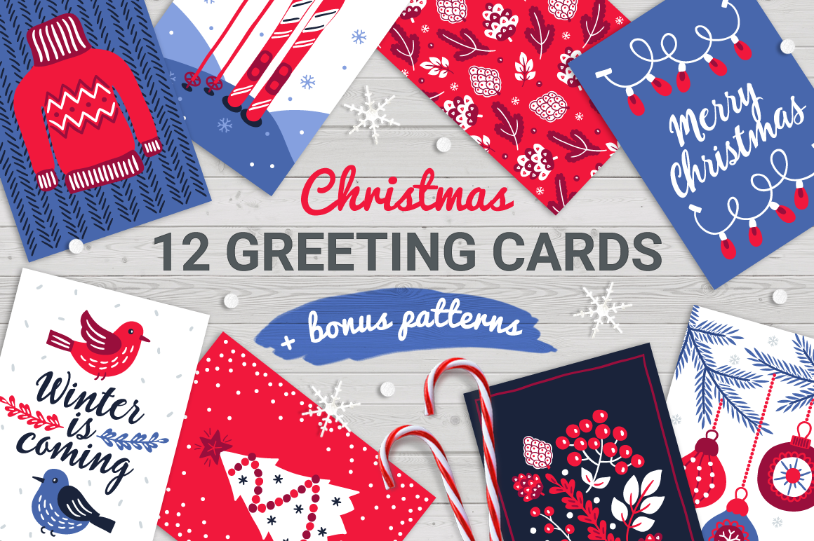12 Christmas Cards Bonus Patterns By Miu Miu Thehungryjpeg Com