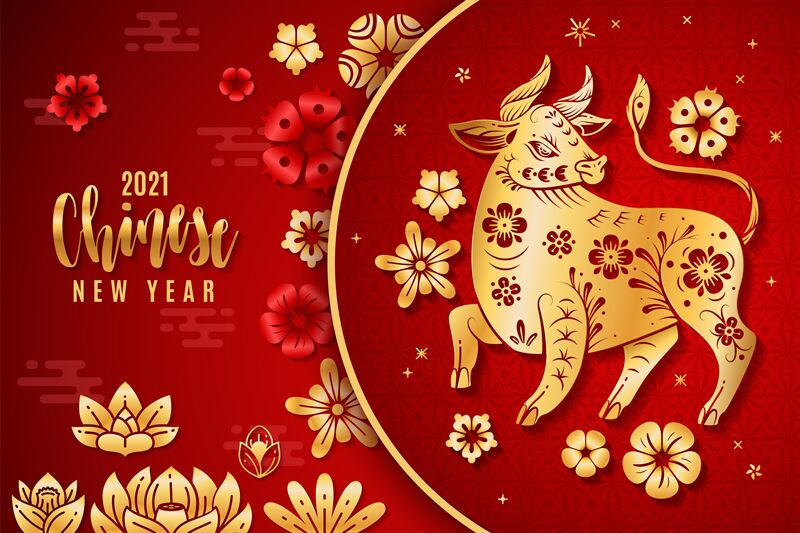 Chinese new year 2021. Traditional poster with red and ...
