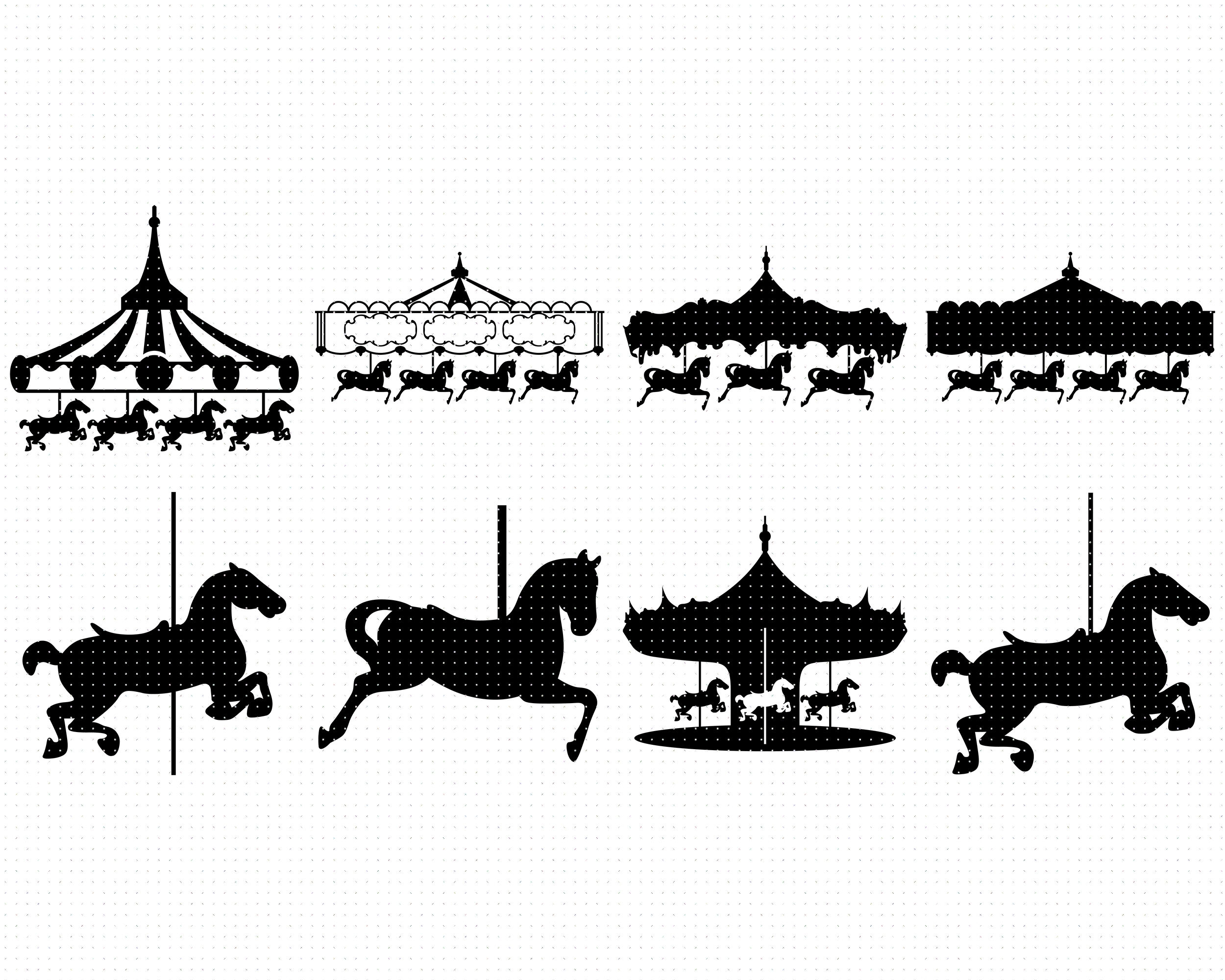 Carousel Svg Pony Png Horse Dxf Clipart Eps Vector By Crafteroks Thehungryjpeg Com