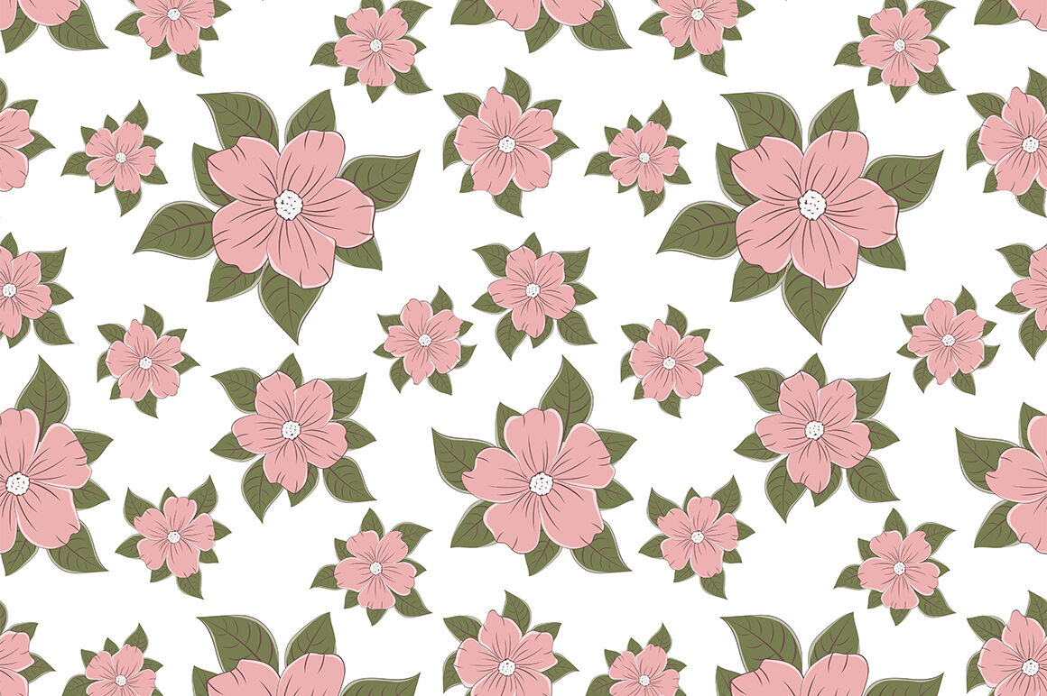 Vintage Flowers Patterns Vector Digital Paper Flowers Svg By Irinashishkova Thehungryjpeg Com