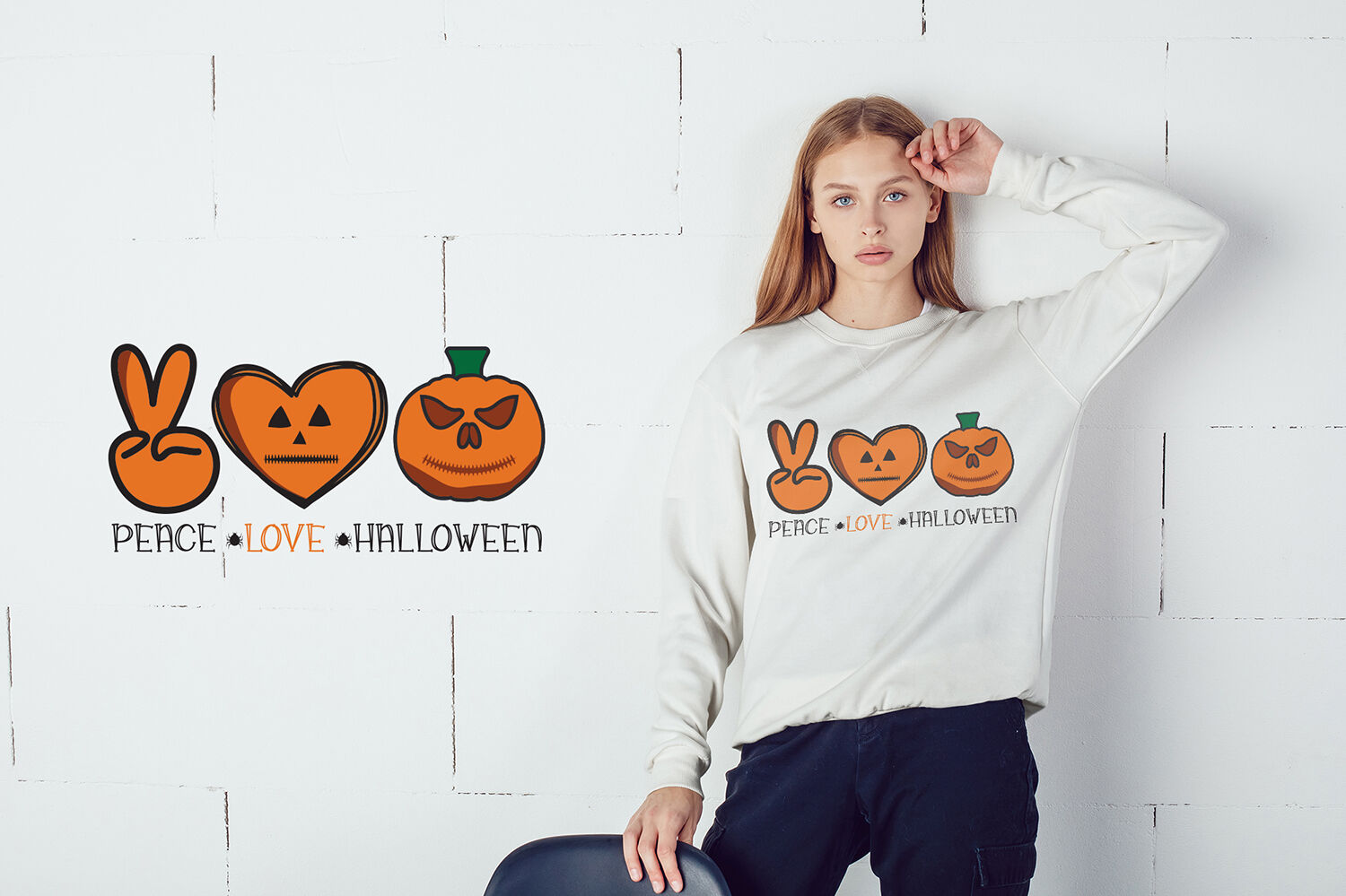 Peace Love Halloween Svg Halloween Svg Cut File By Craftlabsvg Thehungryjpeg Com