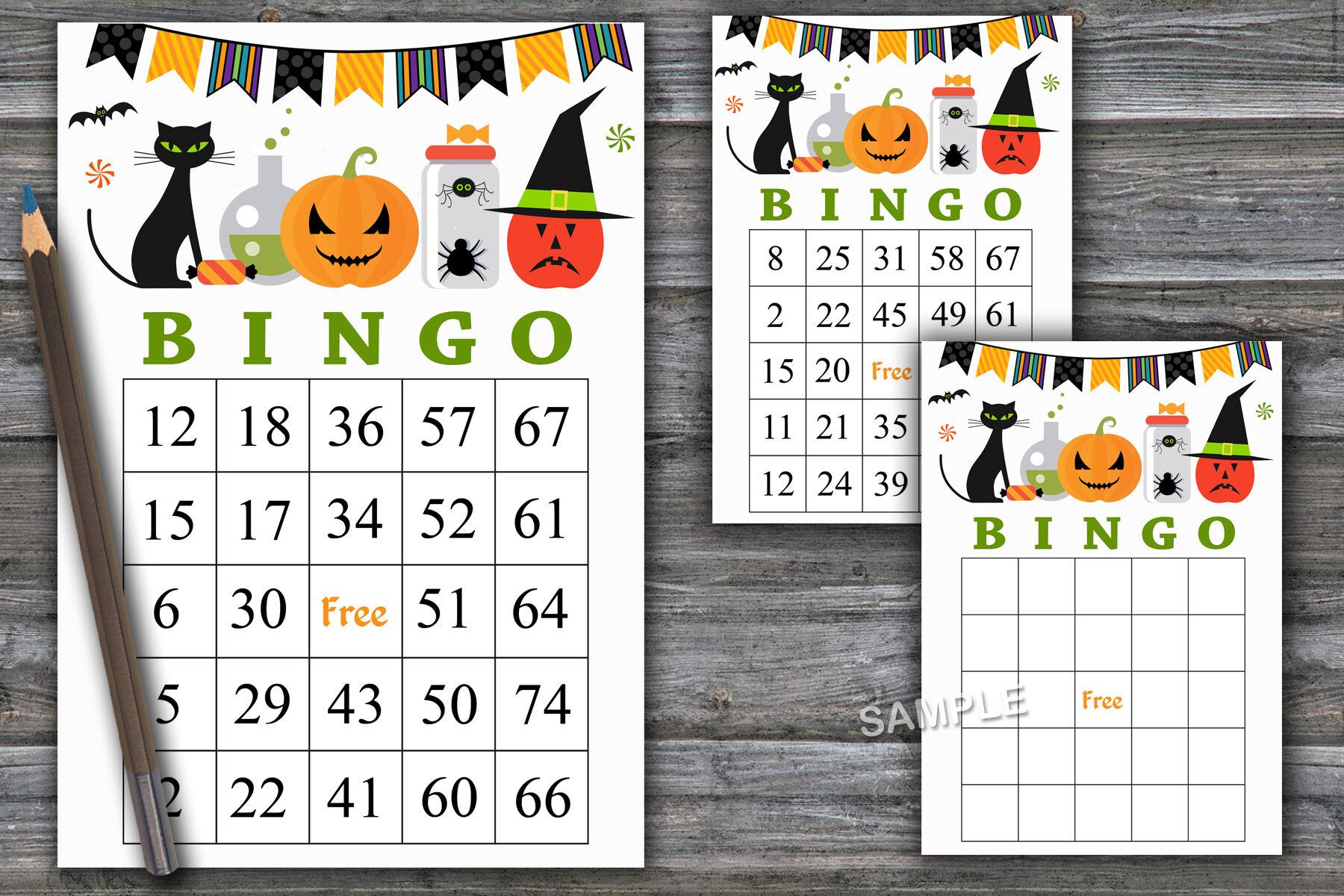 Halloween Bingo Patterns.Halloween Bingo Game Halloween Bingo Cards Halloween Party 45 By Sweetdesign Thehungryjpeg Com