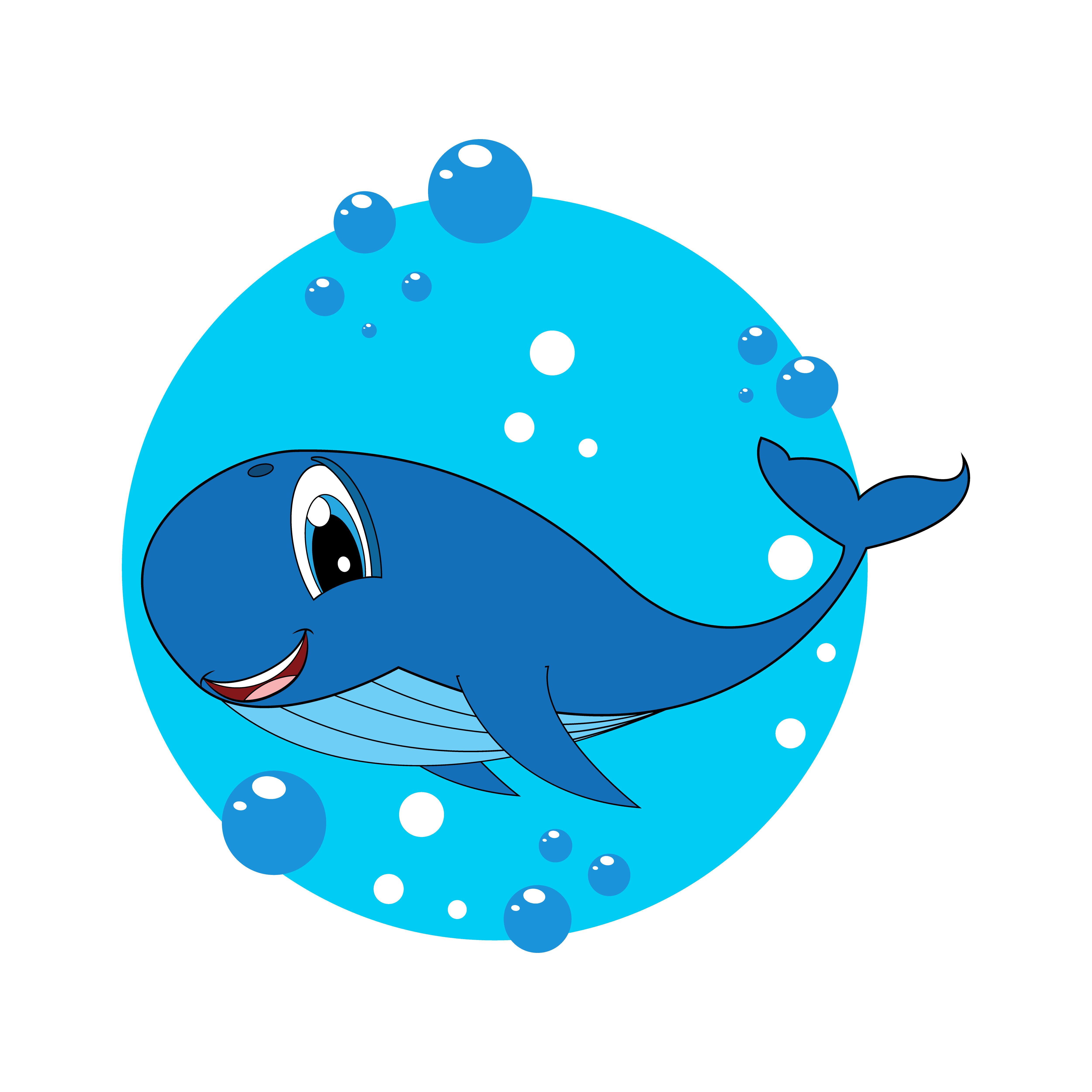Cute Whale Cartoon Simple Vector Illustration By Curutdesign Thehungryjpeg Com