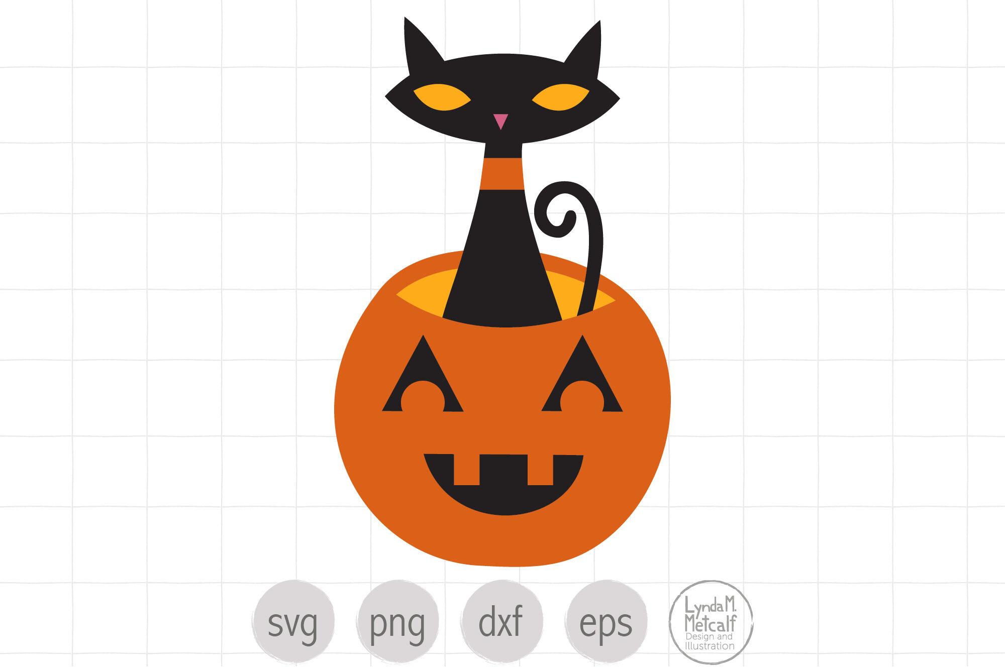 Black Cat In Jack O Lantern Svg For Halloween By Lyndammetcalf Thehungryjpeg Com