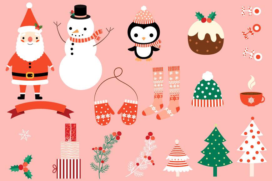 Cute Christmas Clip Art.Cute Christmas Clipart Set Santa Clipart Snowman