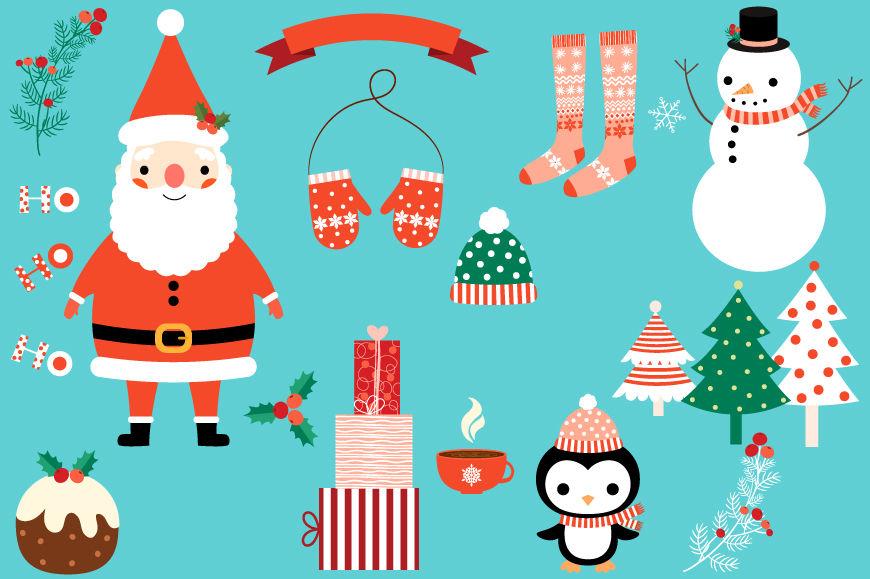 Cute Christmas Clipart Set Santa Clipart Snowman Christmas
