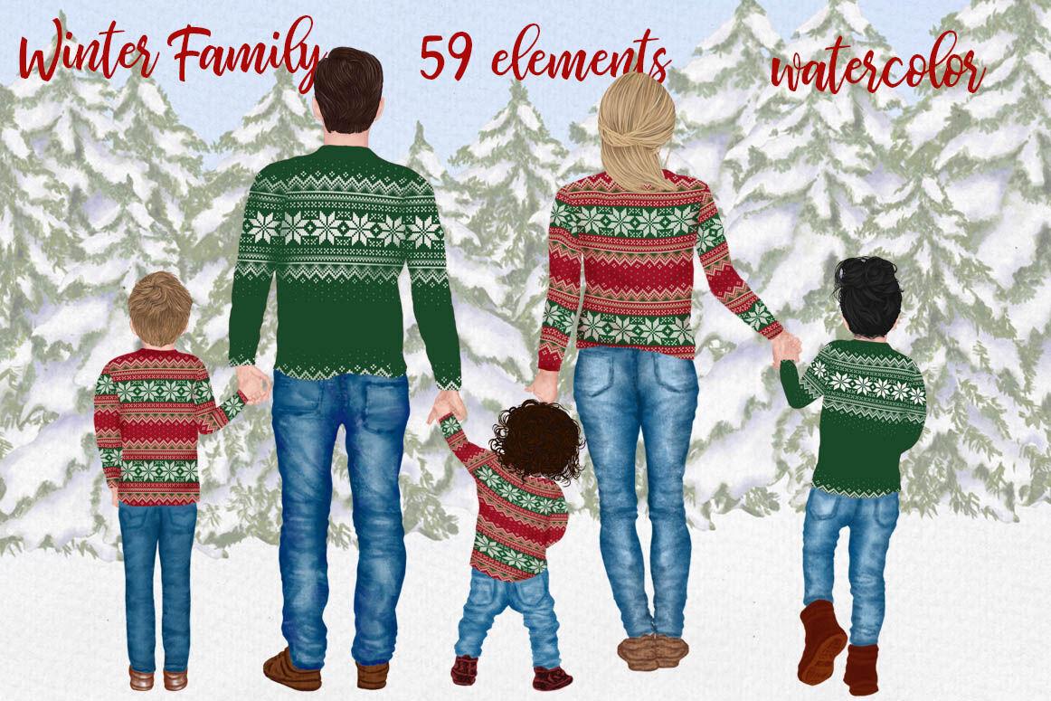 Winter Family Christmas Clipart Christmas Cards Xmas Mugs By Lecoqdesign Thehungryjpeg Com