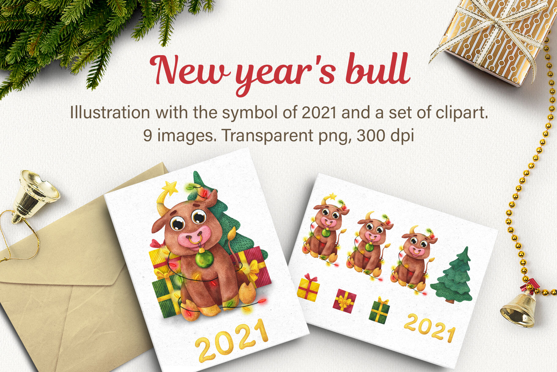 new year s bull watercolor happy new year cute bulls clipart symbol of a year 2021 merry christmas clipart funny bulls cute animal by anin art thehungryjpeg com the hungry jpeg