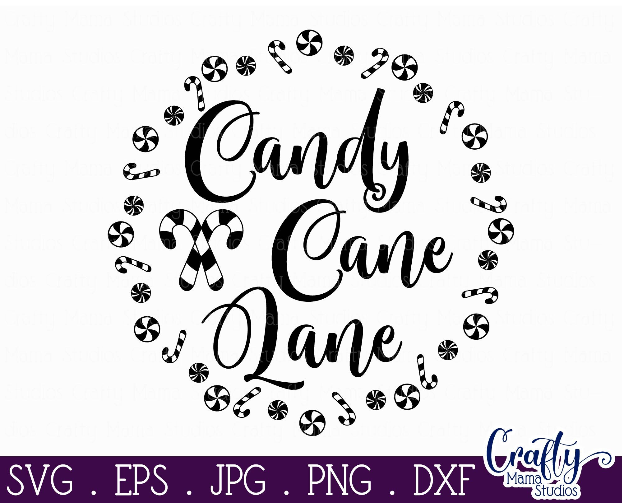 Christmas Svg Candy Cane Lane Round Sign Cut File By Crafty Mama Studios Thehungryjpeg Com