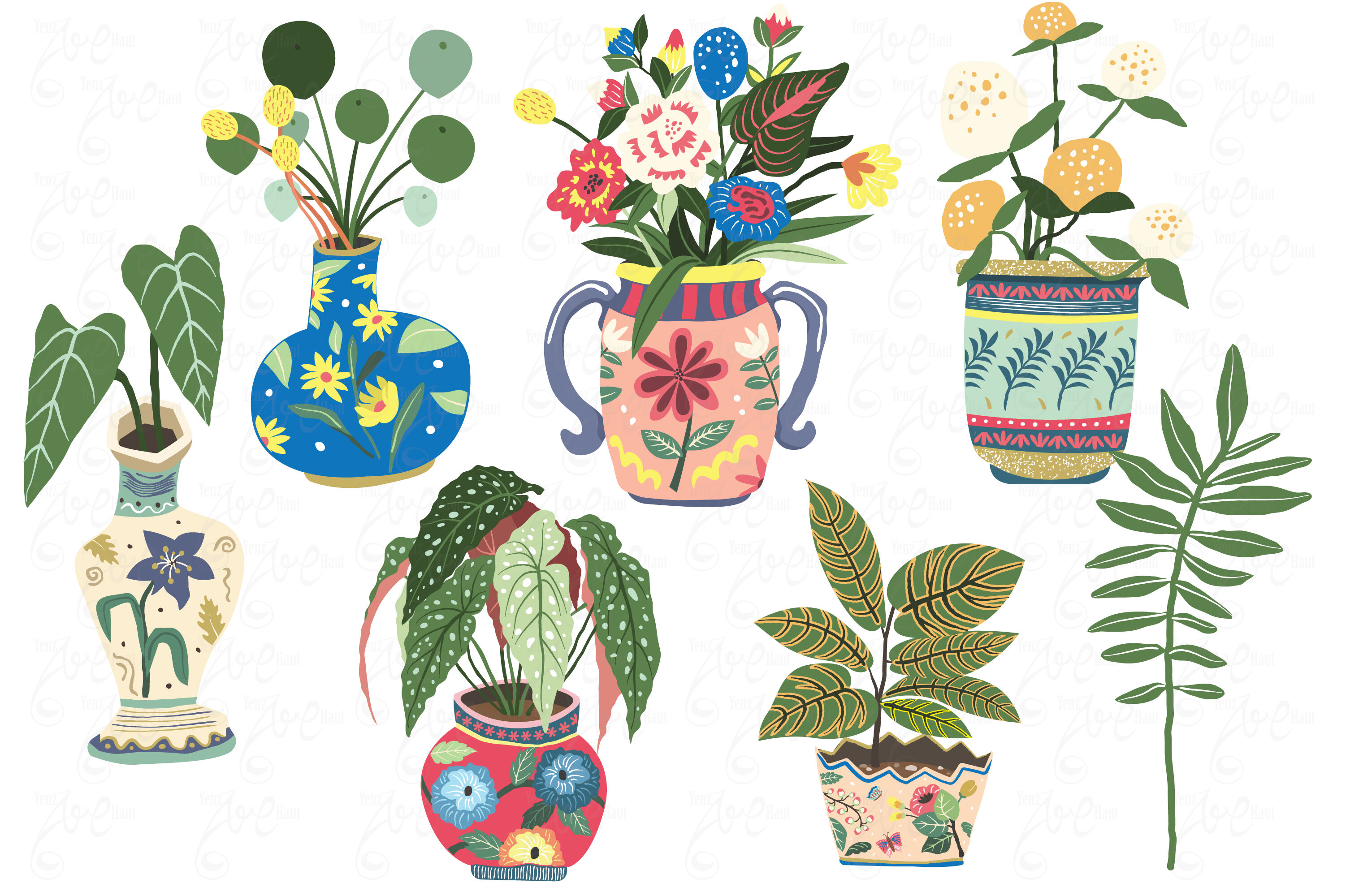 Vintage House Plant Illustration By Yenzarthaut Thehungryjpeg Com