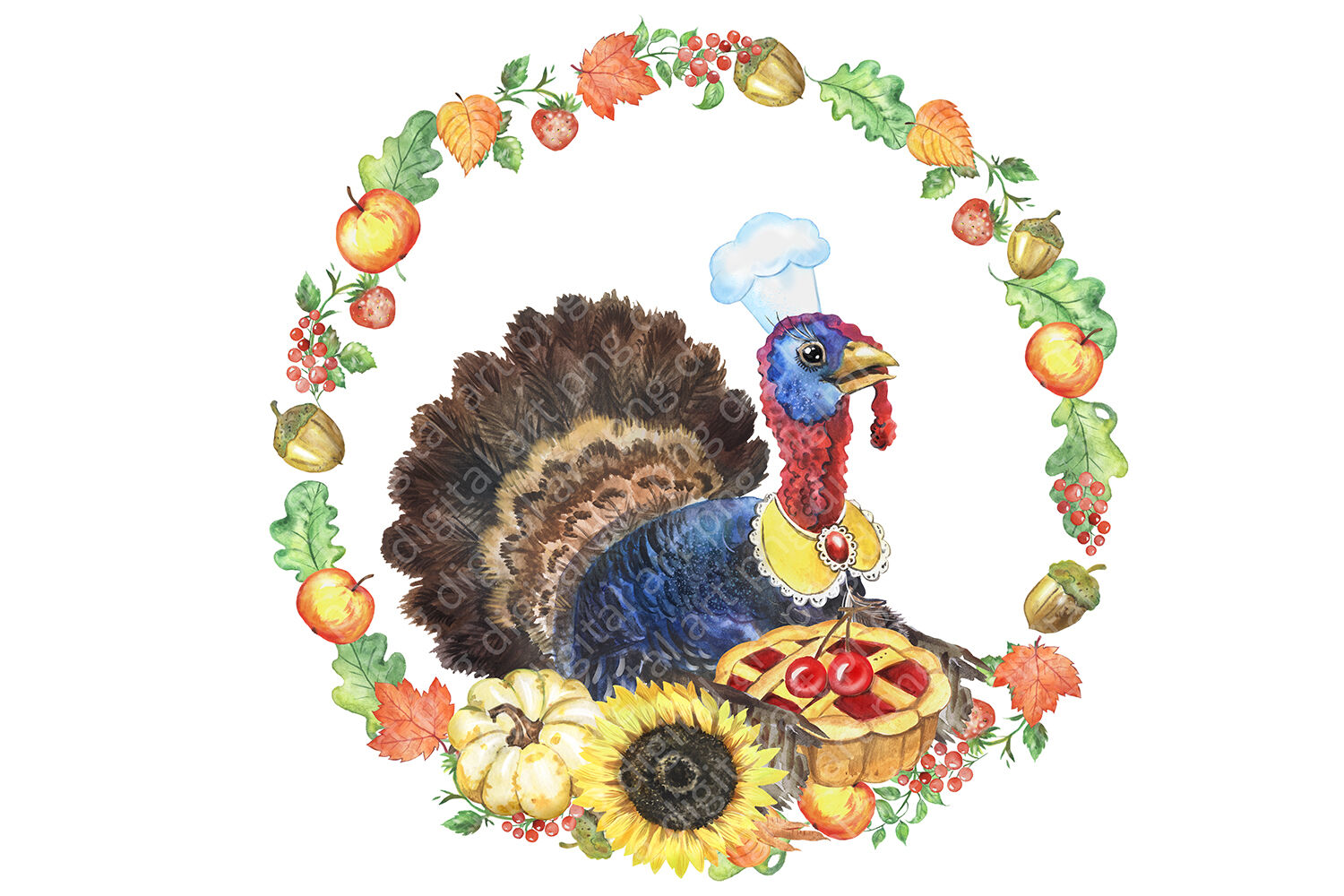 Happy thanksgiving day watercolor clipart. Turkey with pie ... (1500 x 1000 Pixel)