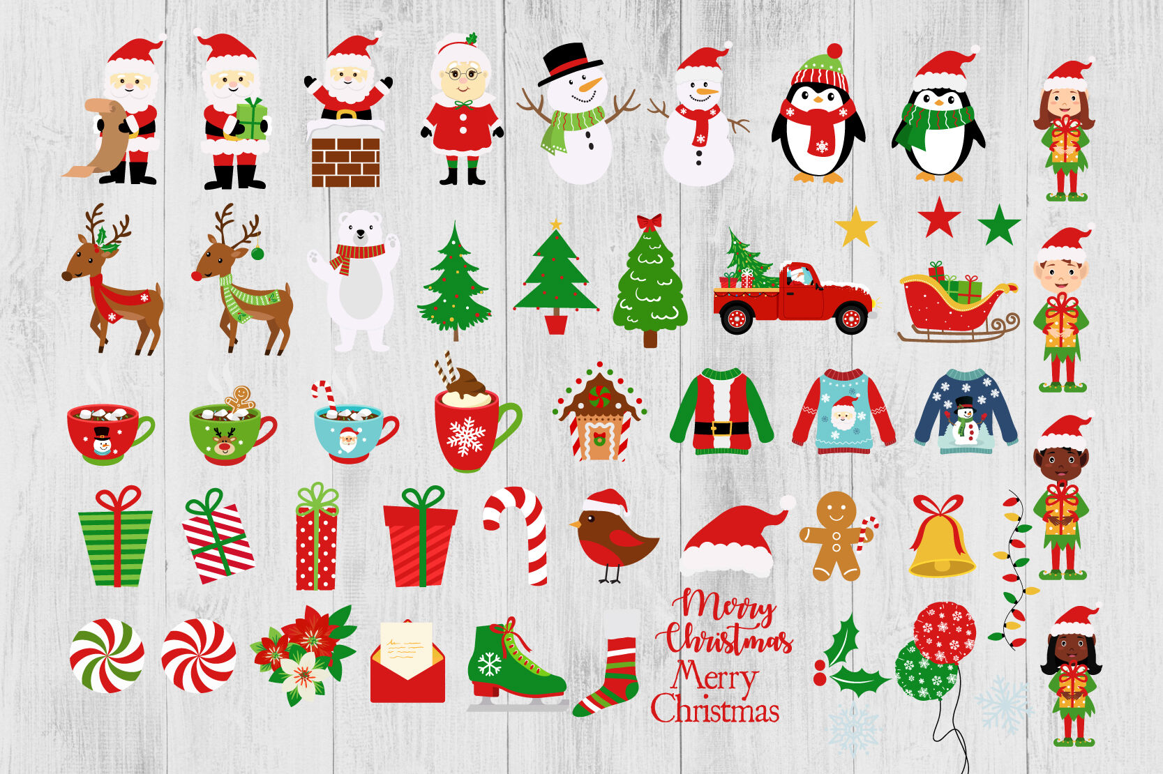 christmas clipart holiday clipart set cute christmas clip art santa by twingenuity graphics thehungryjpeg com the hungry jpeg