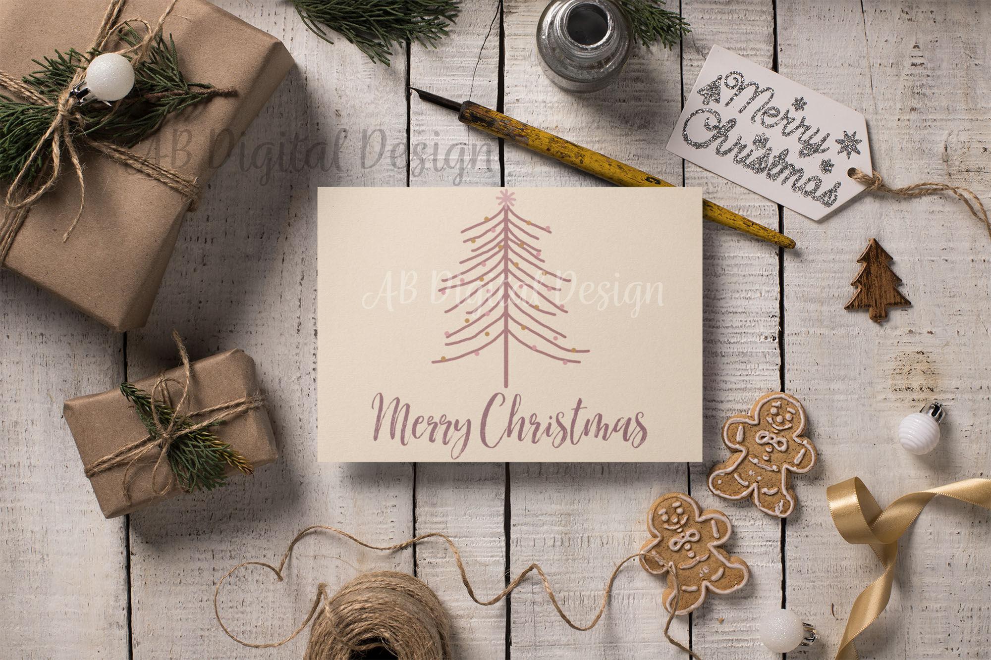Christmas Tree Clipart Pink Gold Modern Boho Christmas By Ab Digital Design Thehungryjpeg Com