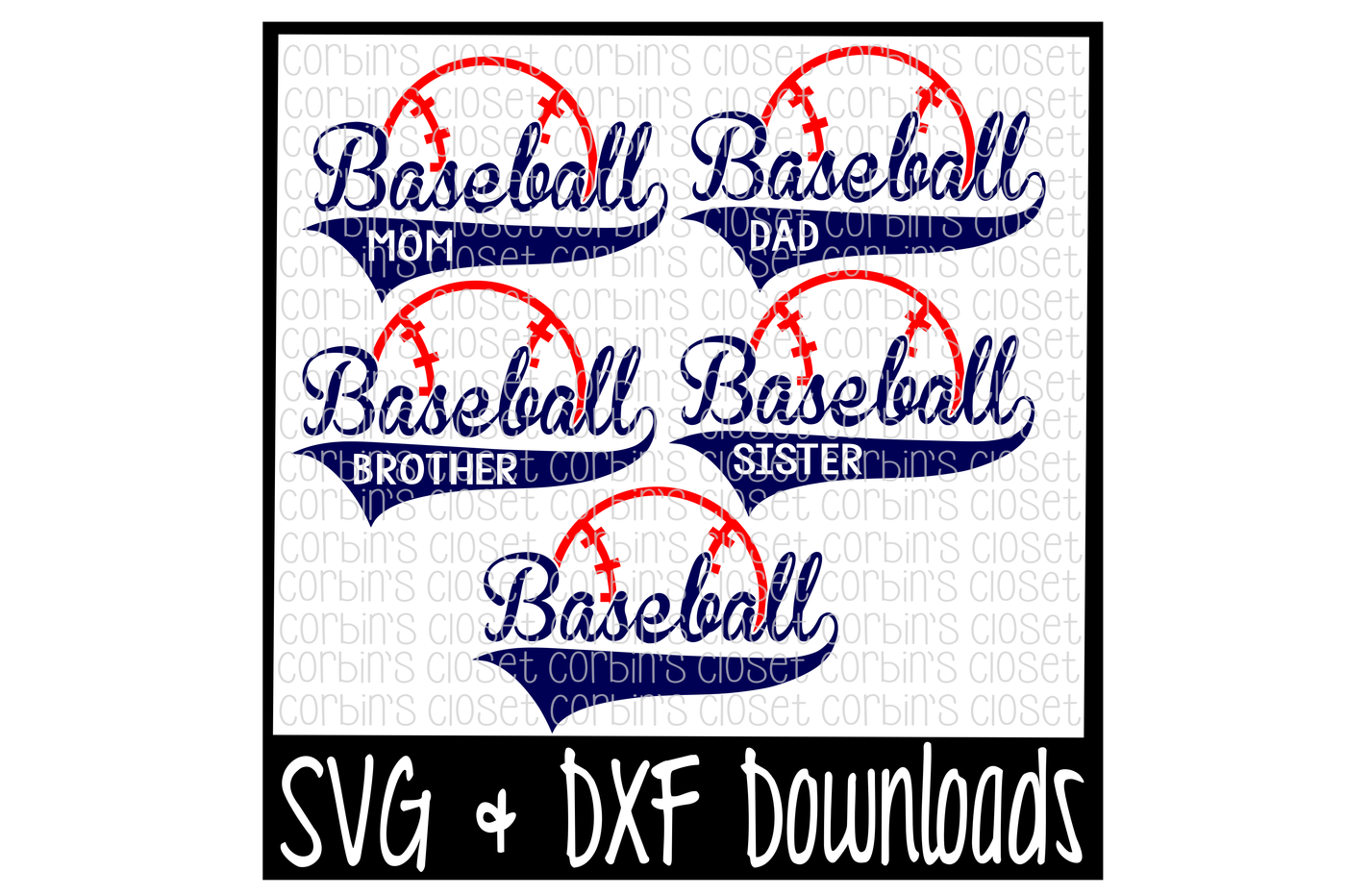 Baseball Mom Dad Sister Brother Cutting File By Corbins Svg