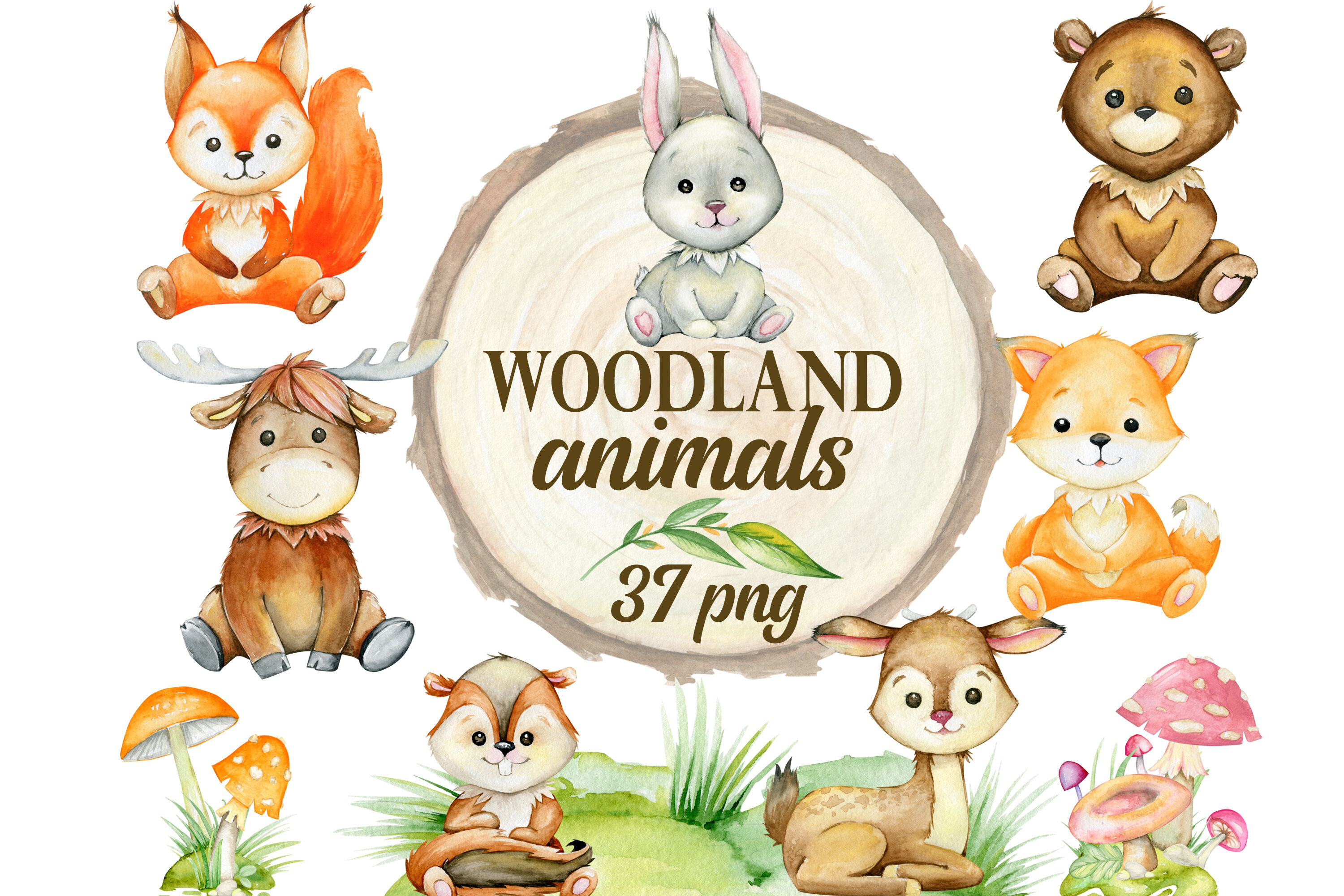 Woodland animals clipart, watercolor forest animals, nursery ...