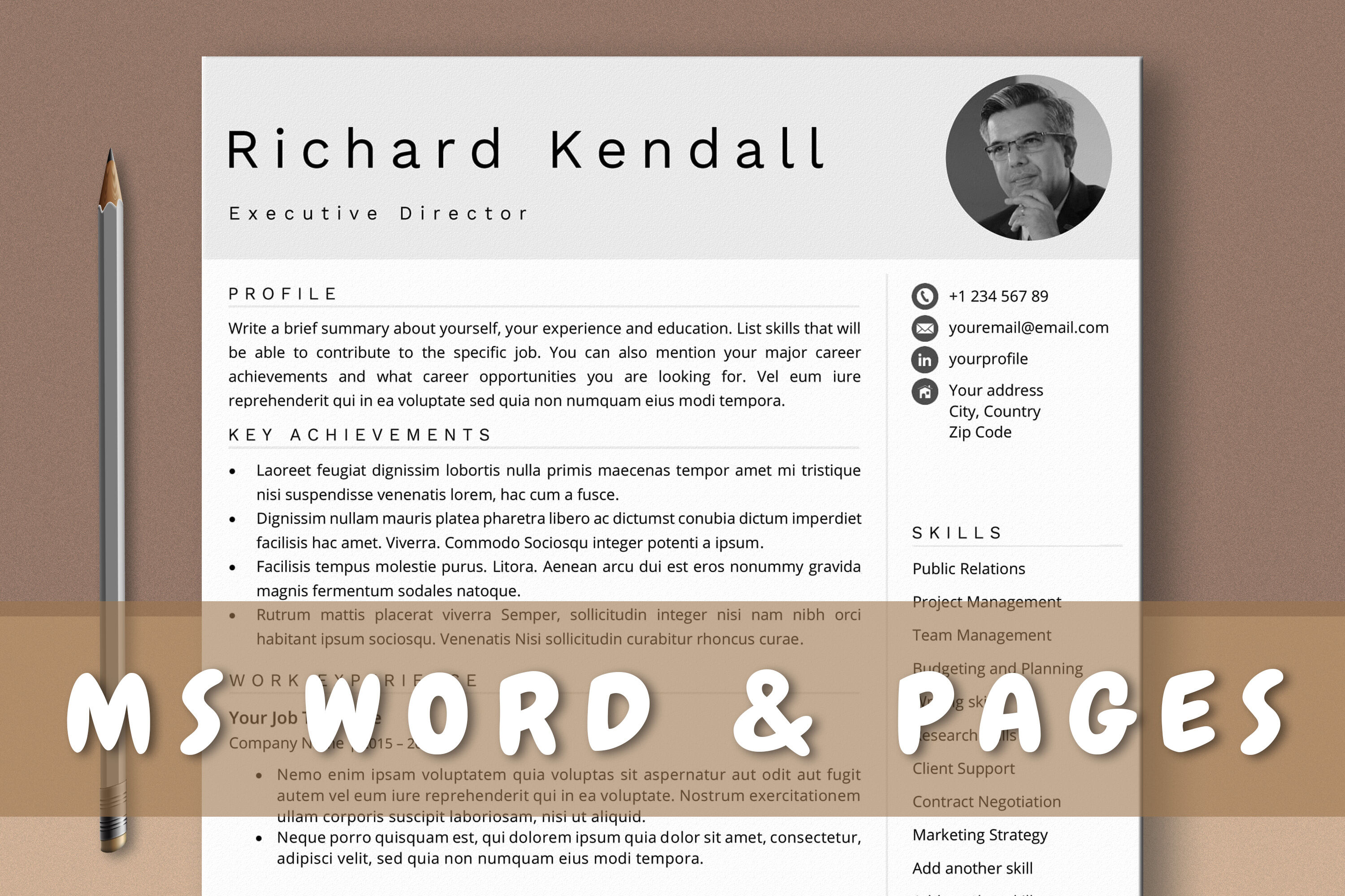 Combination Resume Template with Photo for Word & Pages By Regarding Combination Resume Template Word