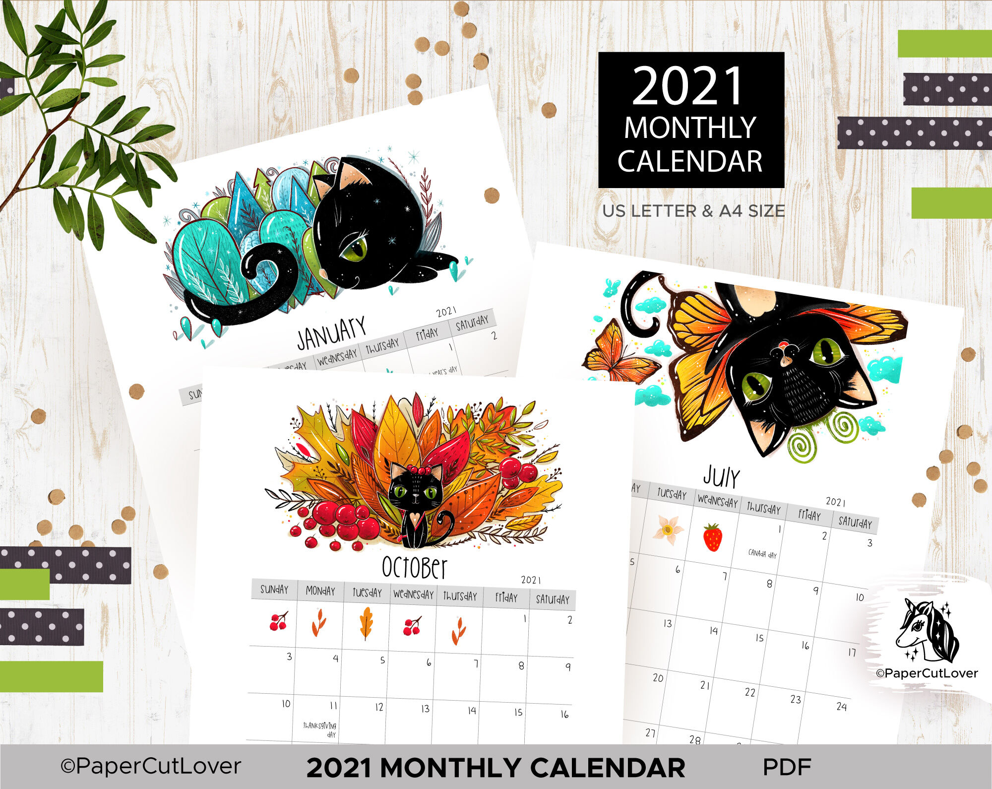 2021 Calendar Printable PDF, Monthly Planner with black ...