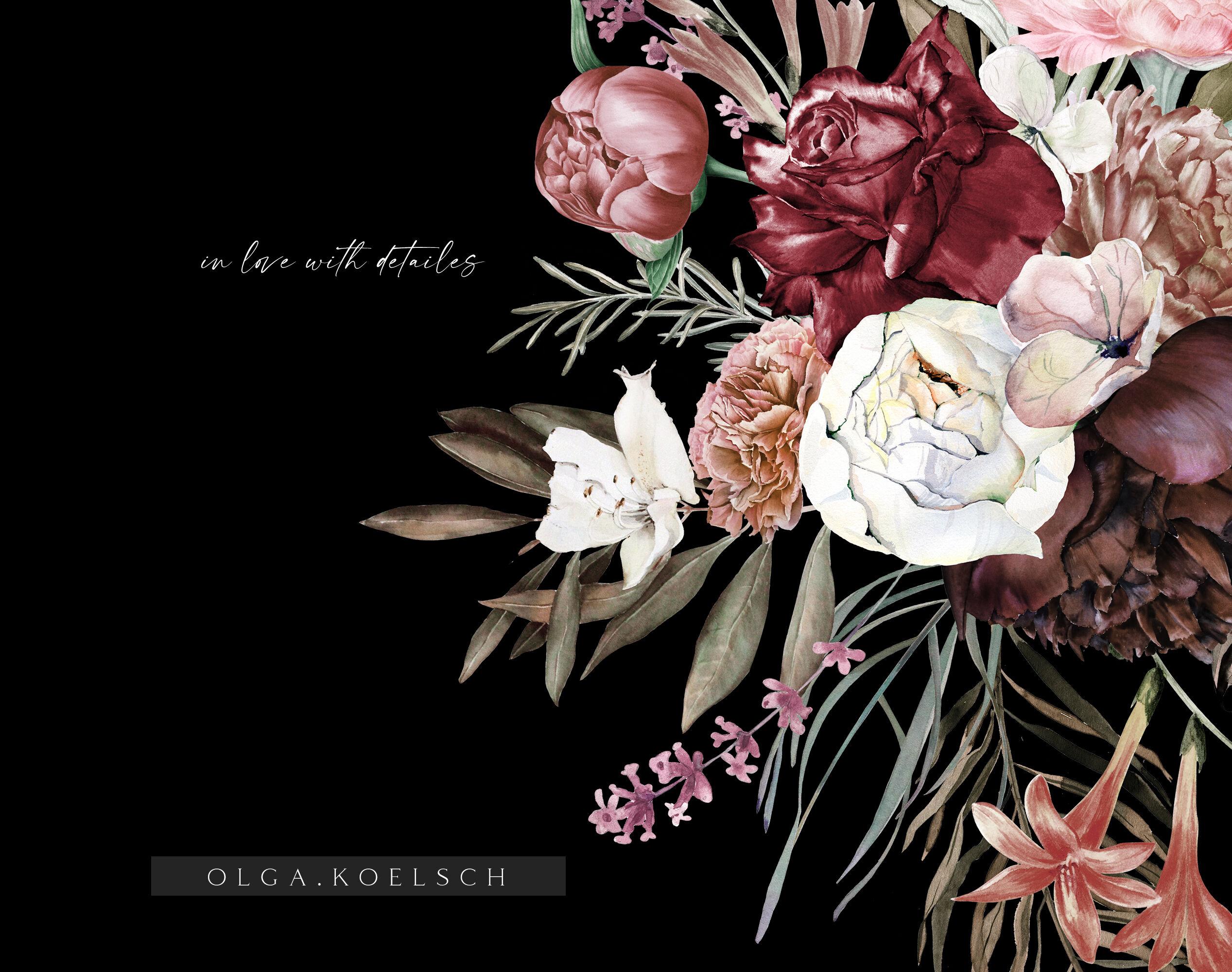 Boho Burgundy Bouquets Clipart Watercolor Blush And Burgundy Wedding By Olga Koelsch Thehungryjpeg Com