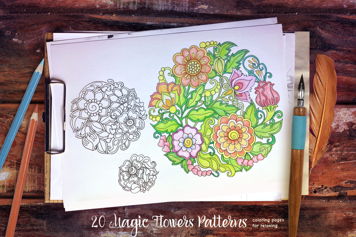 Magic Flowers Coloring Page By Elen Lane Thehungryjpeg Com