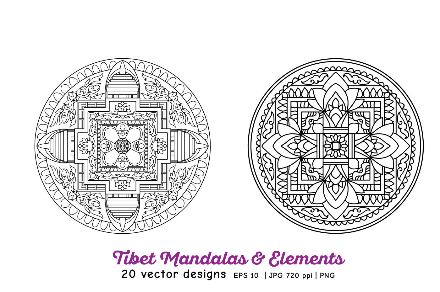 Tibet Mandalas Elements By Elen Lane Thehungryjpeg Com