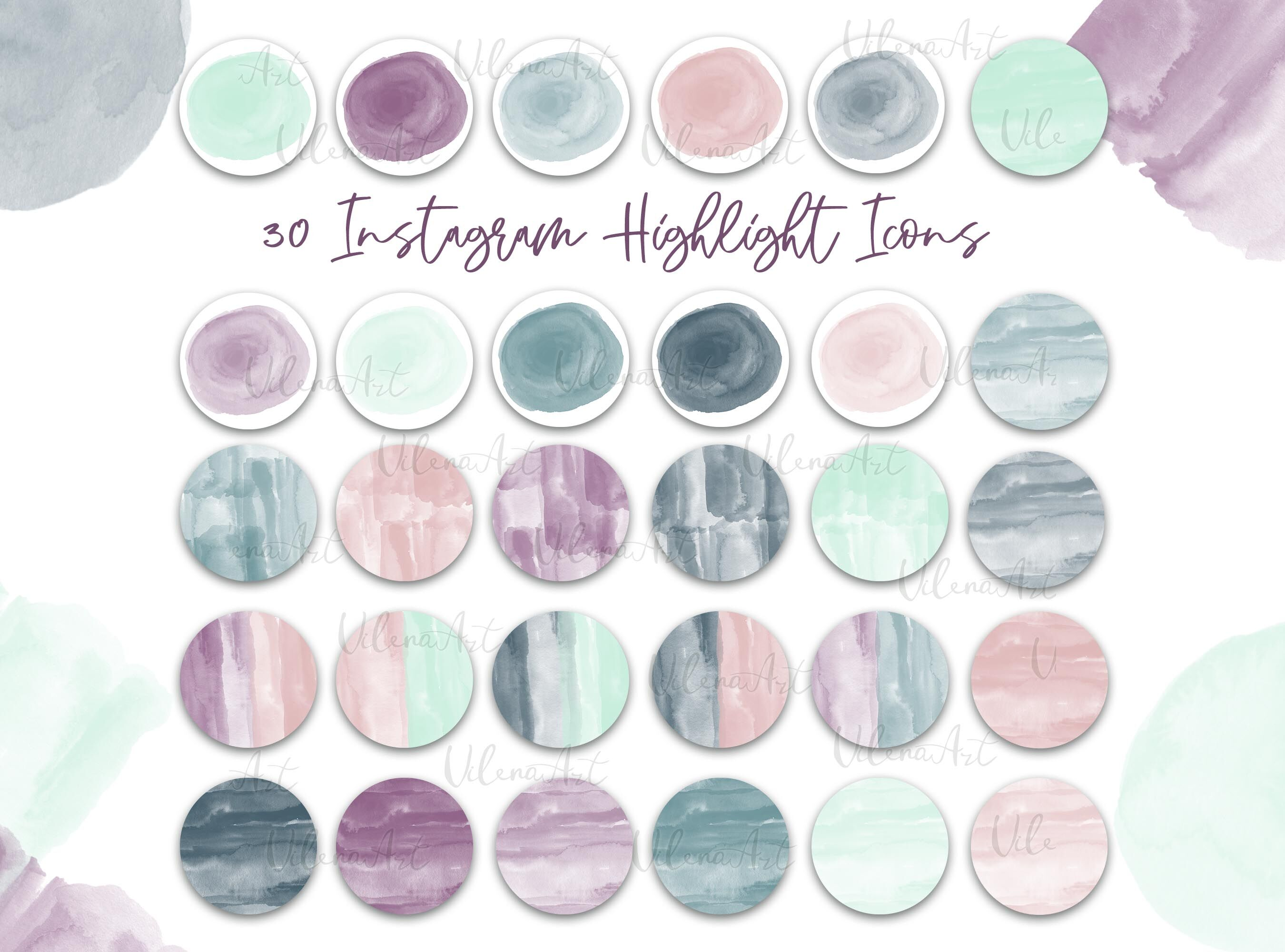 Neutral Watercolor Highlight Covers Modern Boho Instagram Icons Blog S By Vilenaart Thehungryjpeg Com