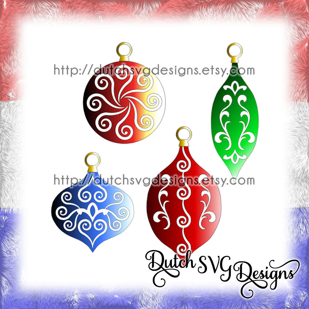 Christmas Ornaments Cutting Files With Swirls In Jpg Png Studio3 Svg Eps Dxf For Cricut Silhouette Balls Bulb Xmas Tree Decoration By Dutch Svg Designs Thehungryjpeg Com