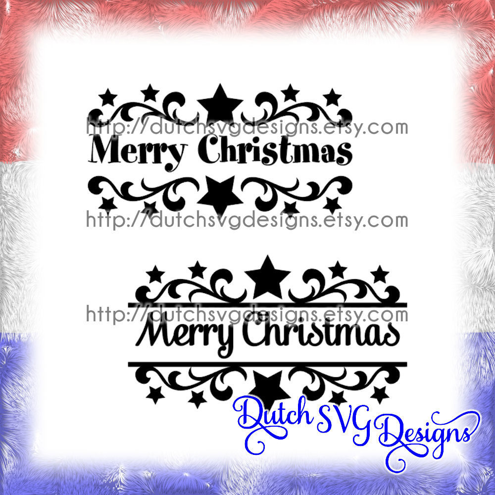 2 Swirly Split Border Cutting Files Merry Christmas With Stars In