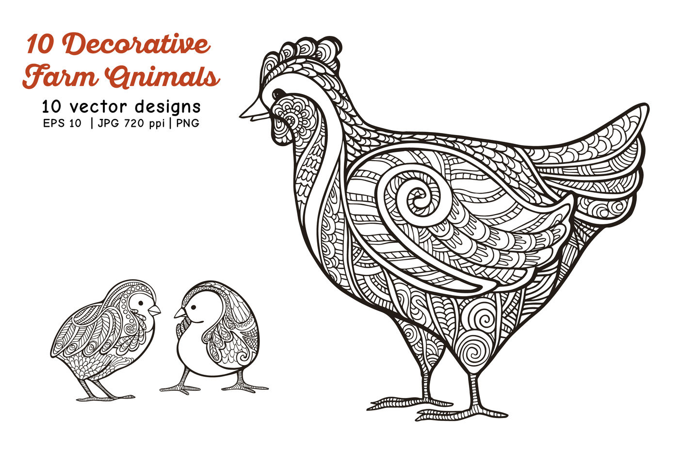 10 Decorative Farm Animals By Elen Lane Thehungryjpeg Com