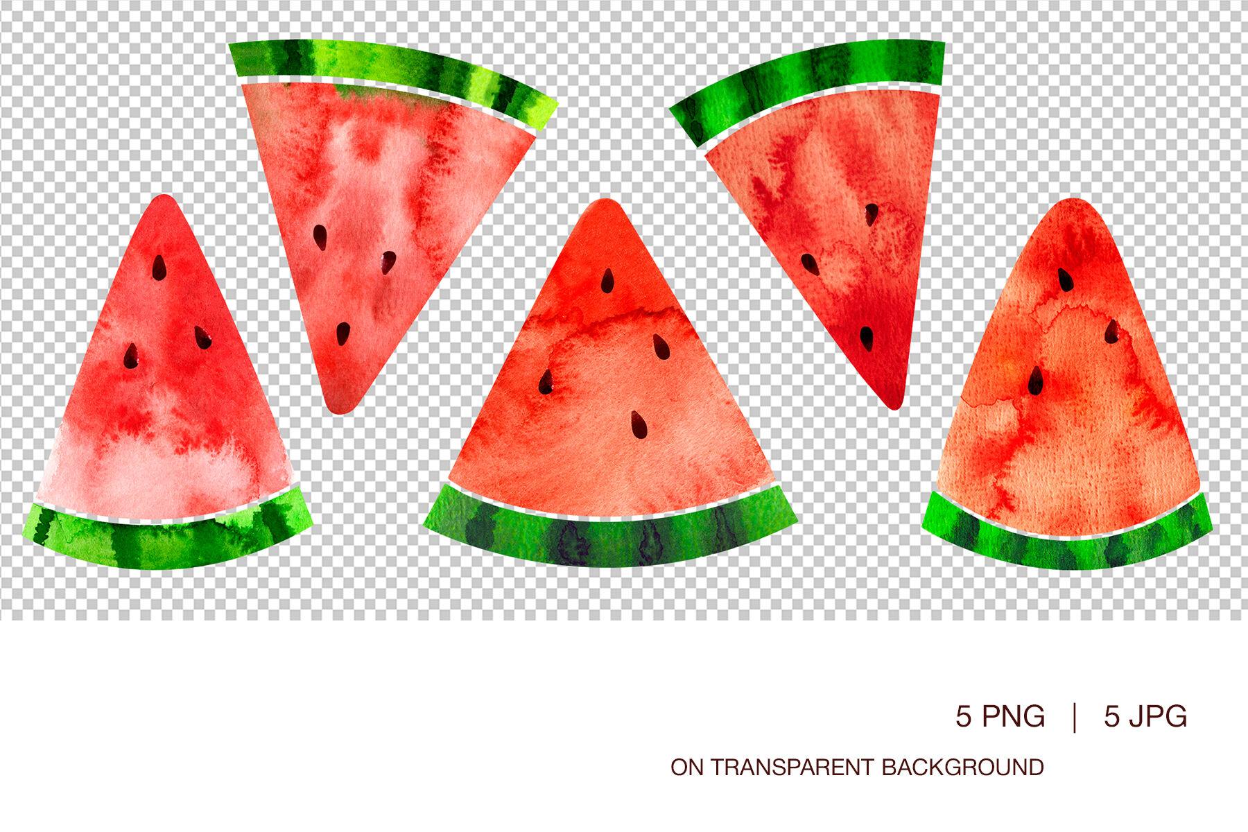 Watermelon Slices Digital Clipart Watecolor Illustrations By Viktorialapshyna Thehungryjpeg Com
