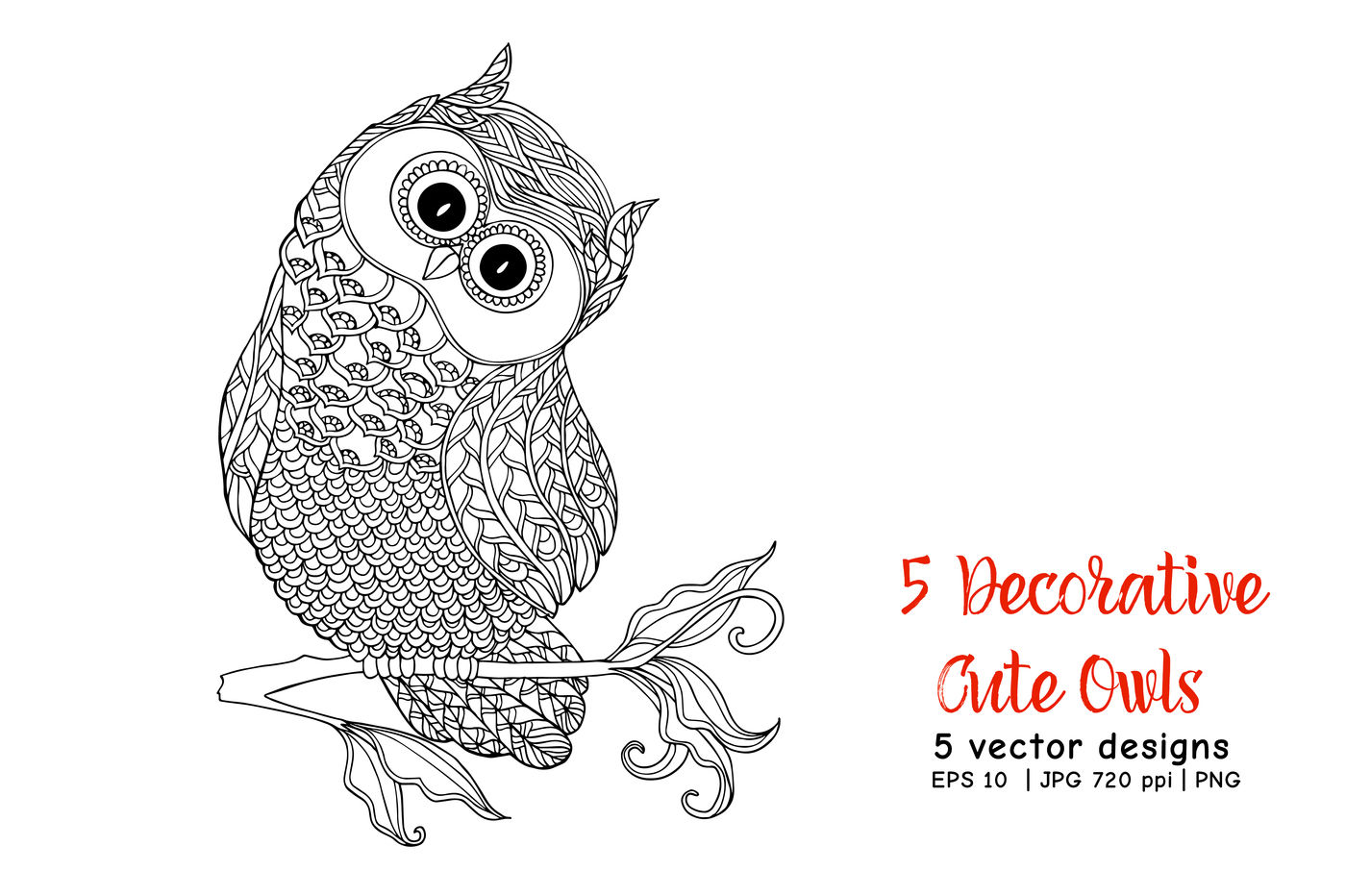 5 Decorative Cute Owls By Elen Lane Thehungryjpeg Com